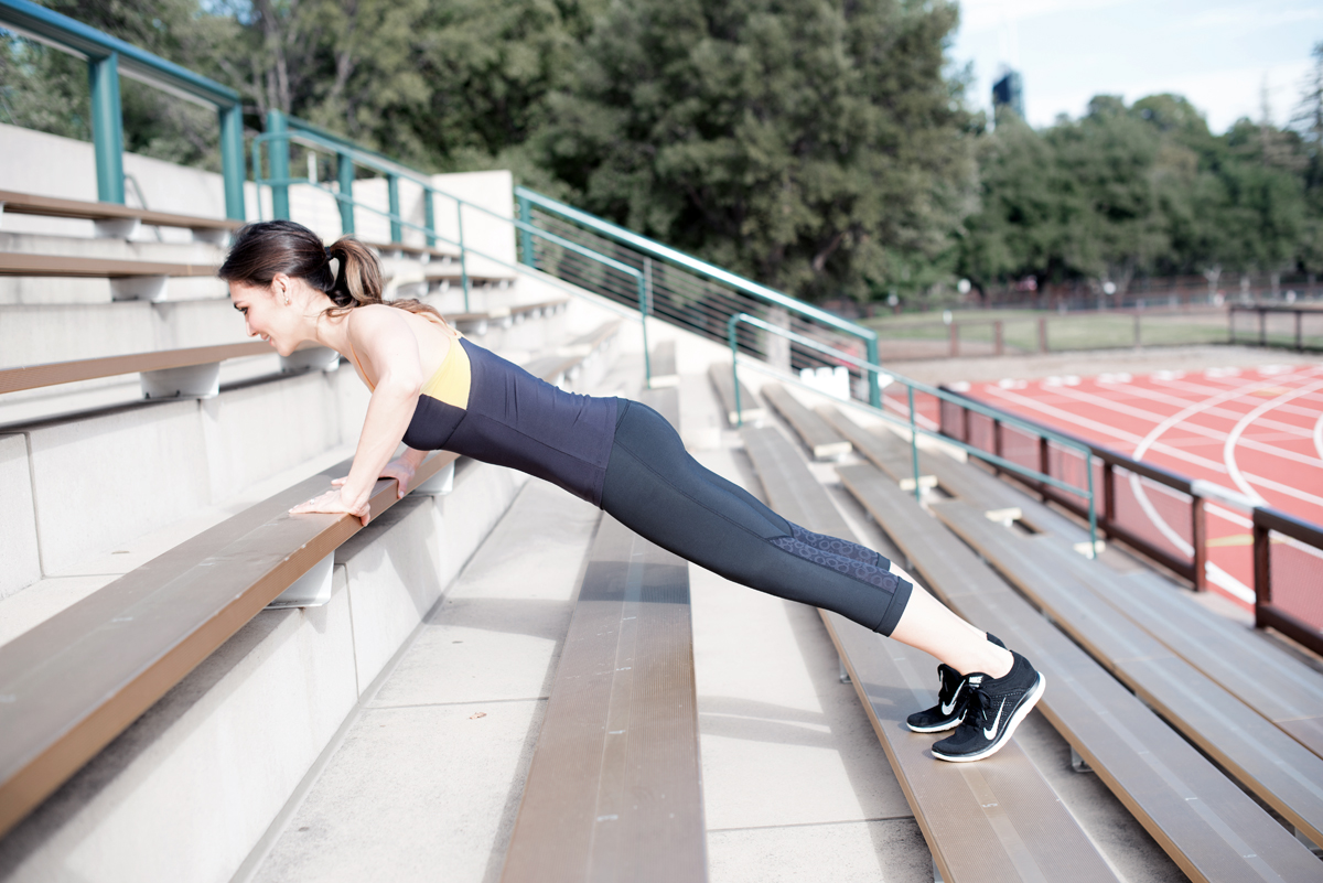 2. Once you've got step 1. down, lower your incline by finding stairs or bleachers and repeating step 1. This will be easier than a full push up, but challenging all the same muscles. Stay here as long as you need to but make sure to maintain good posture!
