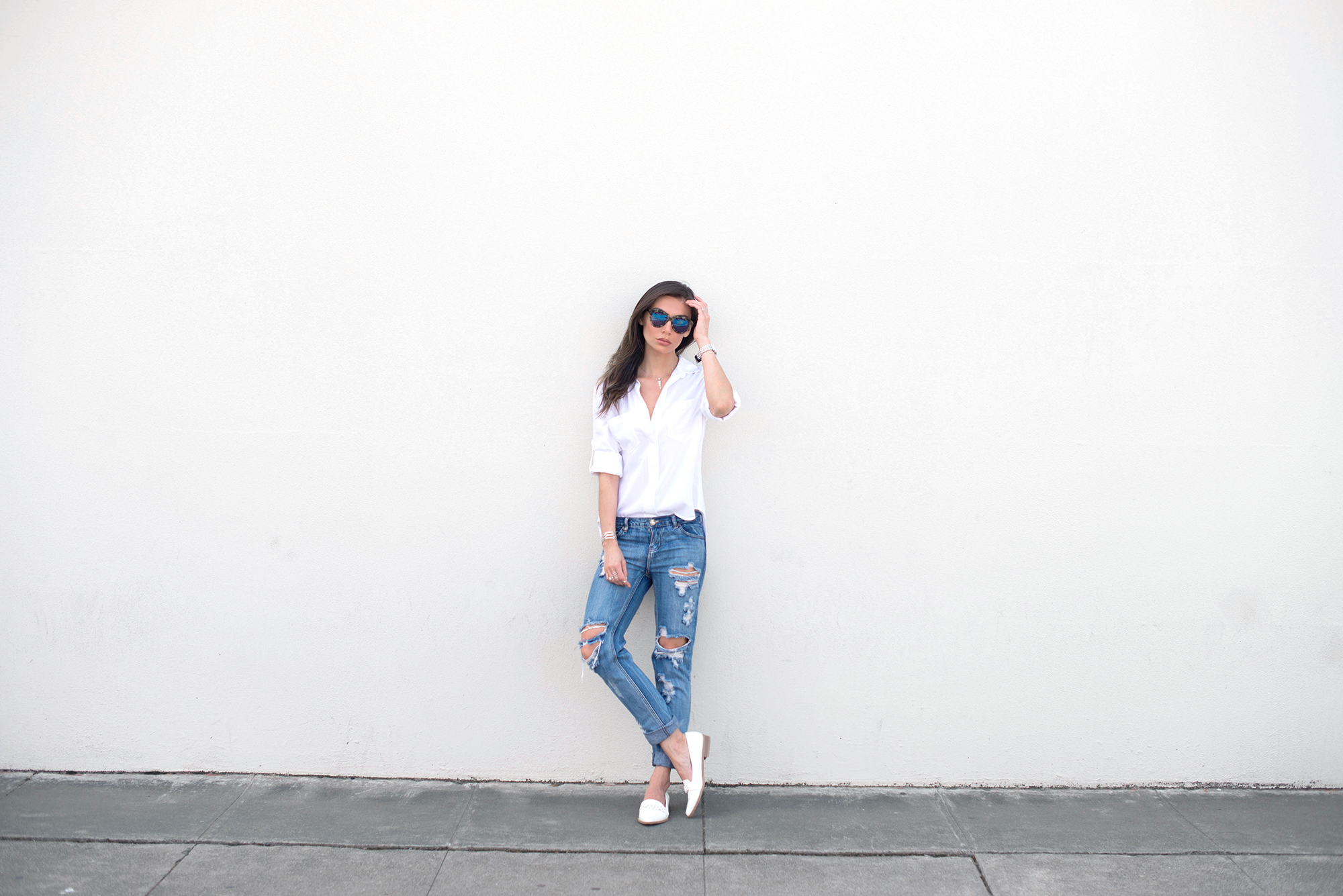 WEARING:    Karen Walker Superstars Sunglasses  ,   Bella Dahl Split Back Shirt  ,   One Teaspoon Awesome Baggies Jeans  ,   Missguided Shoes  ,   Kelly Bello Mini Triangle Necklace  ,   Stretched Triangle Necklace  , and   Square Pearl Ring  ,   Joyus Double H Ring in Silver   ,    Marshelleys Manic Cuff,       Dainty & Bold Midi Ring   ,    Yasmin Joseph Christina Bra   ,    Breda Watch
