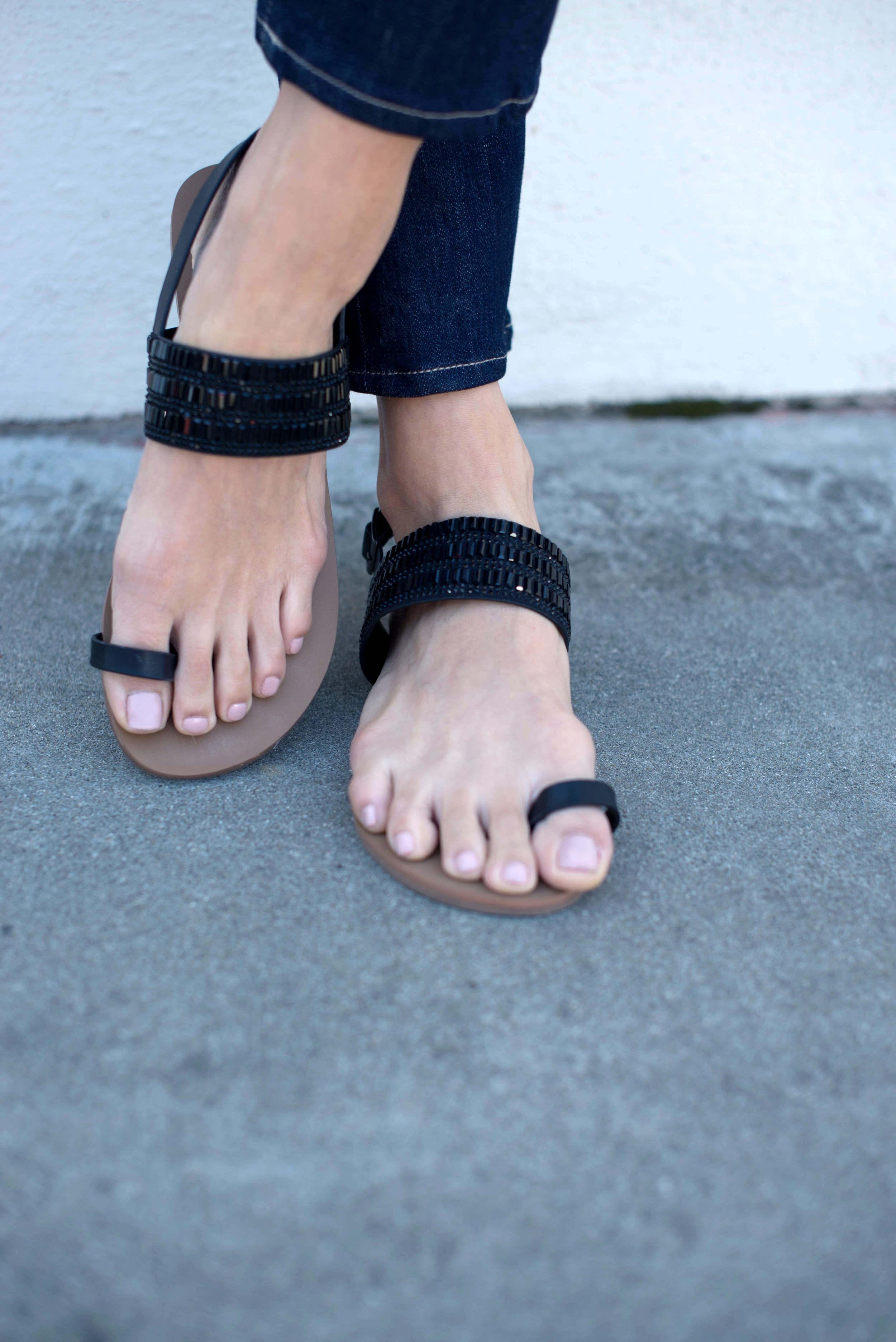 black beaded summer sandals