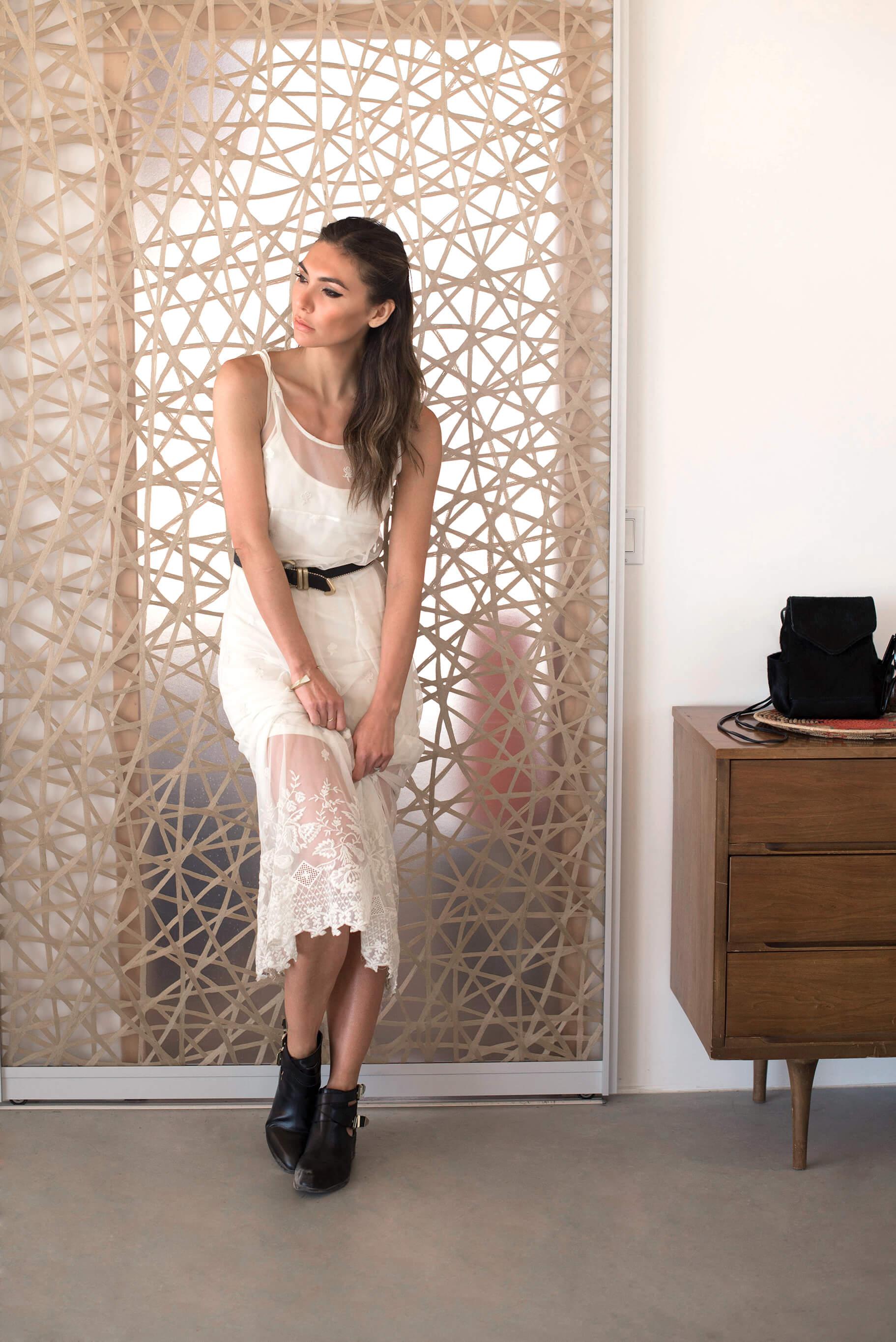 WEARING:   Black Swan Puebla Dress  ,   Seychelles Scoundrel Boots  ,   Ona Chan Bracelet  , Dolce Vita Shoe Strap worn as a belt (  similar here  ),   Oliveve Calfhair Convertible Backpack via Alekka   ,    Céline Audrey Sunglasses