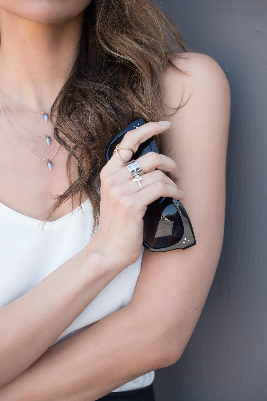 Céline sunglasses and Lionette Avish layered necklace