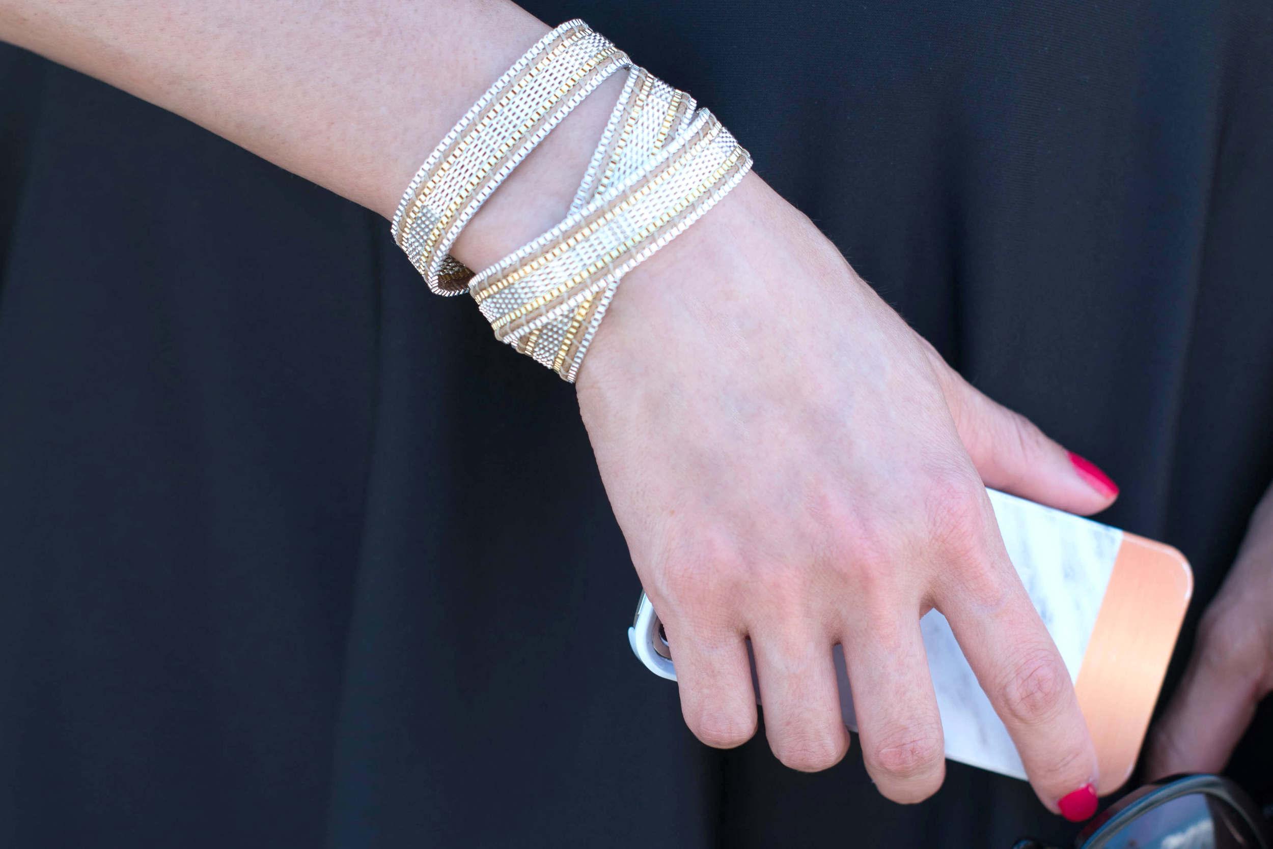 Geoffrey Scott Mesh Wrap Moto Bracelet and Marble iPhone Case