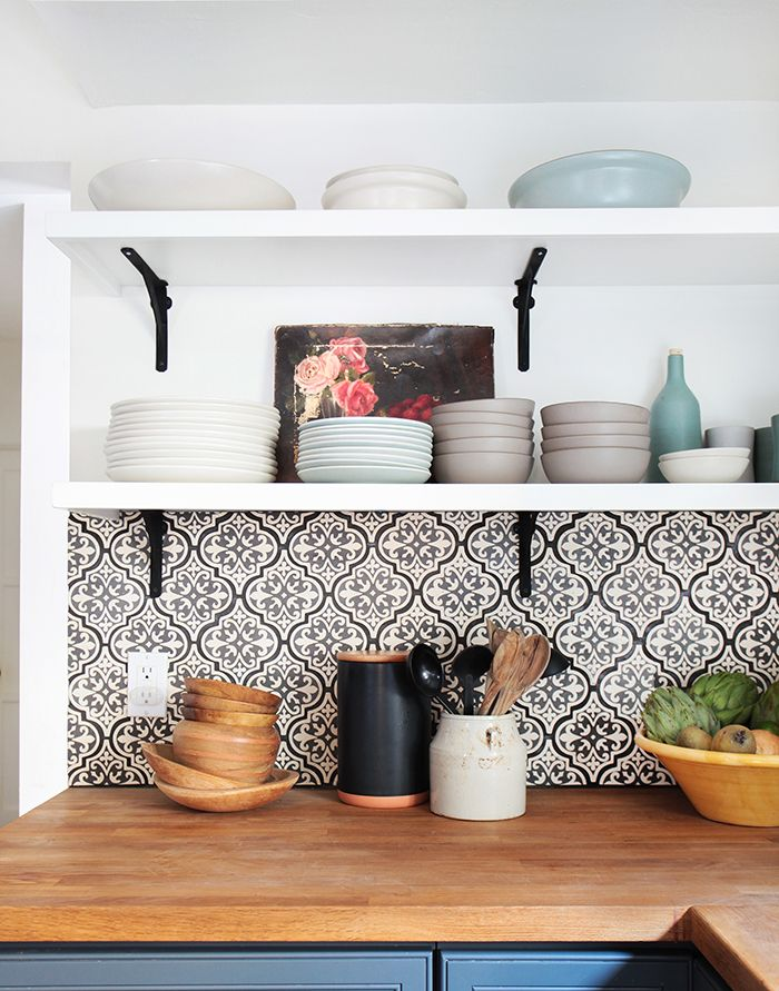 open shelving with Spanish tiles