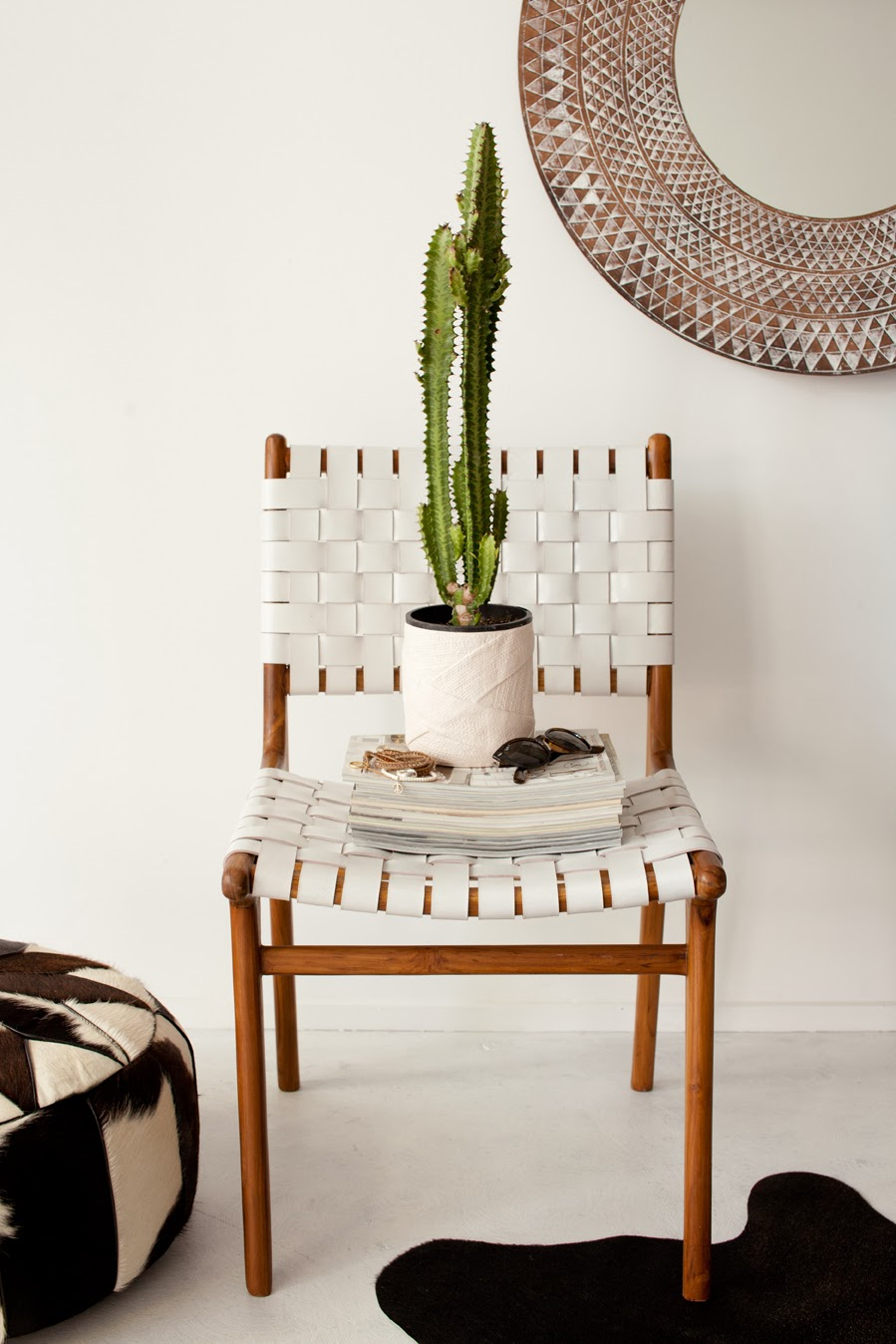 white leather woven chair