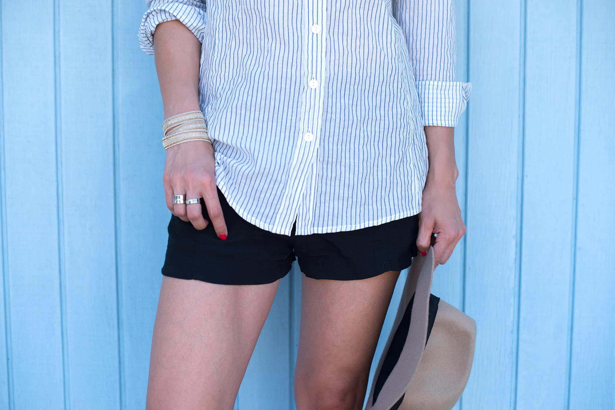 Casual summer outfit with a fedora and helmut lang shorts