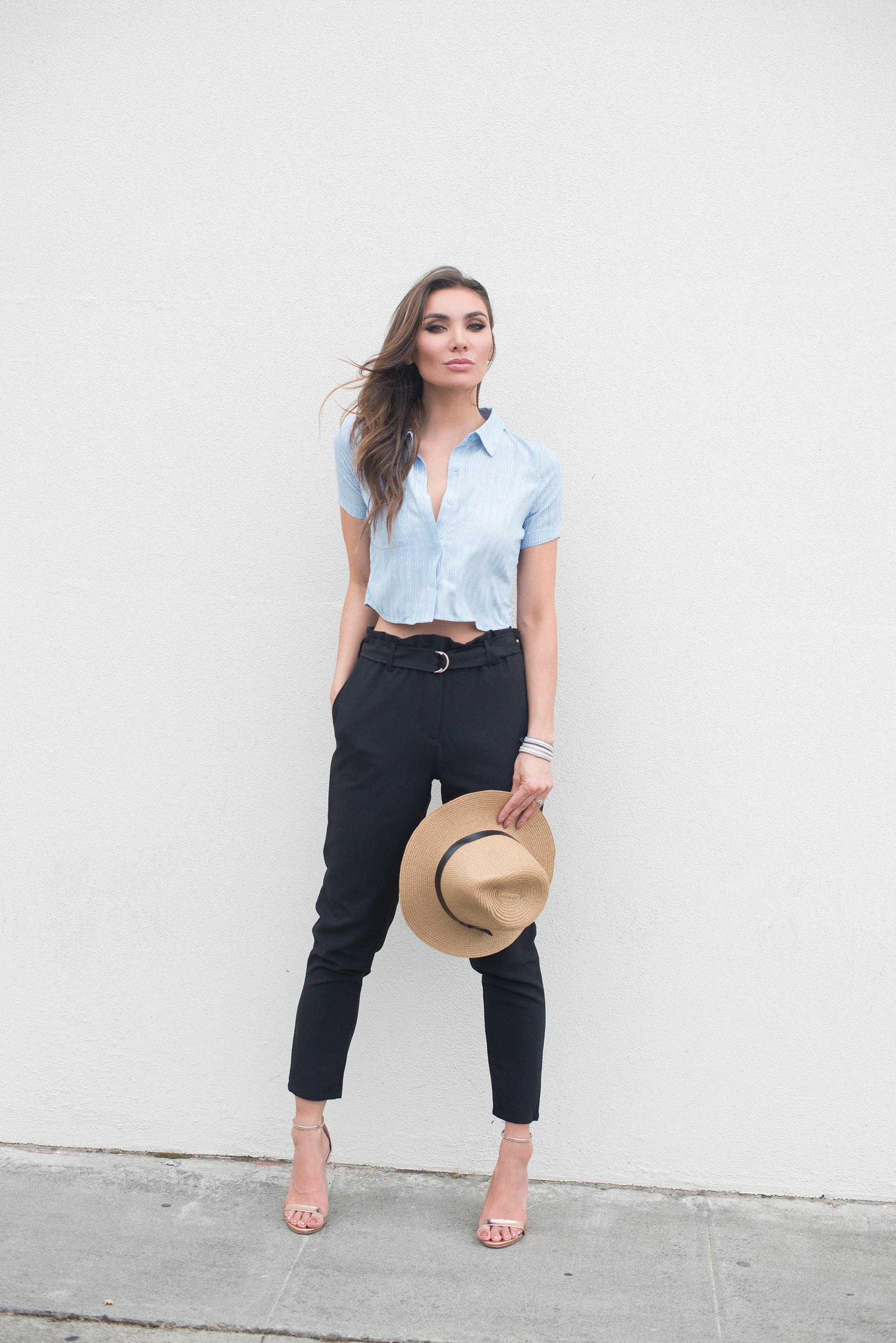 Lulus crop top and high waisted pants summer outfit