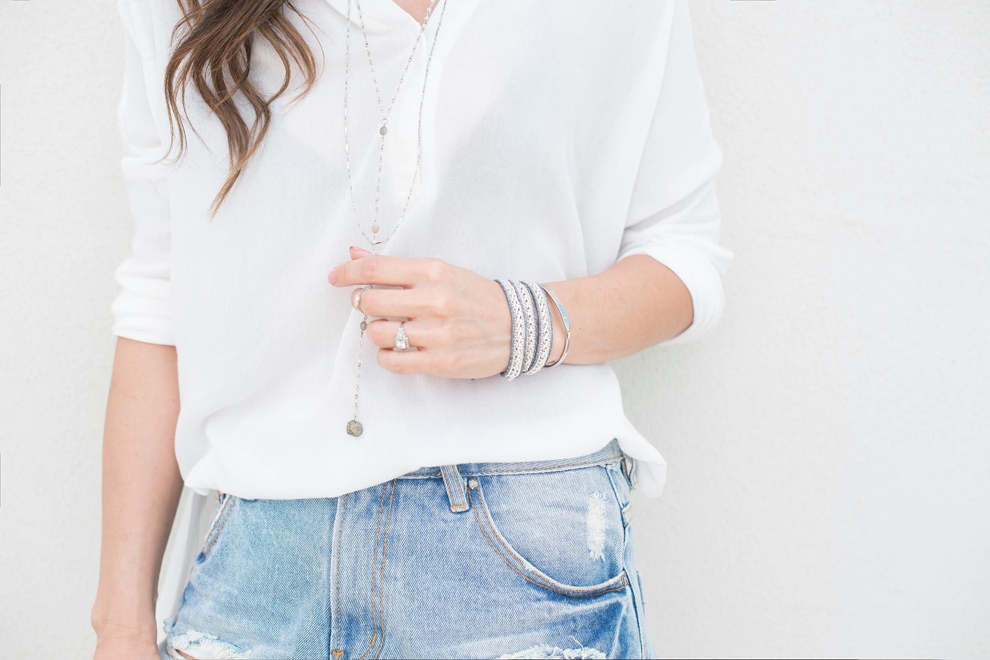 white shirt and denim shorts