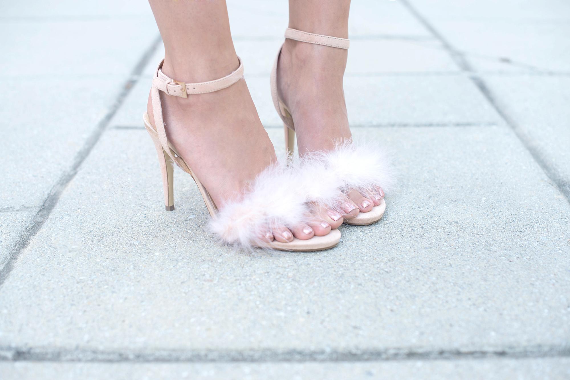 Marabou feather high heel sandals