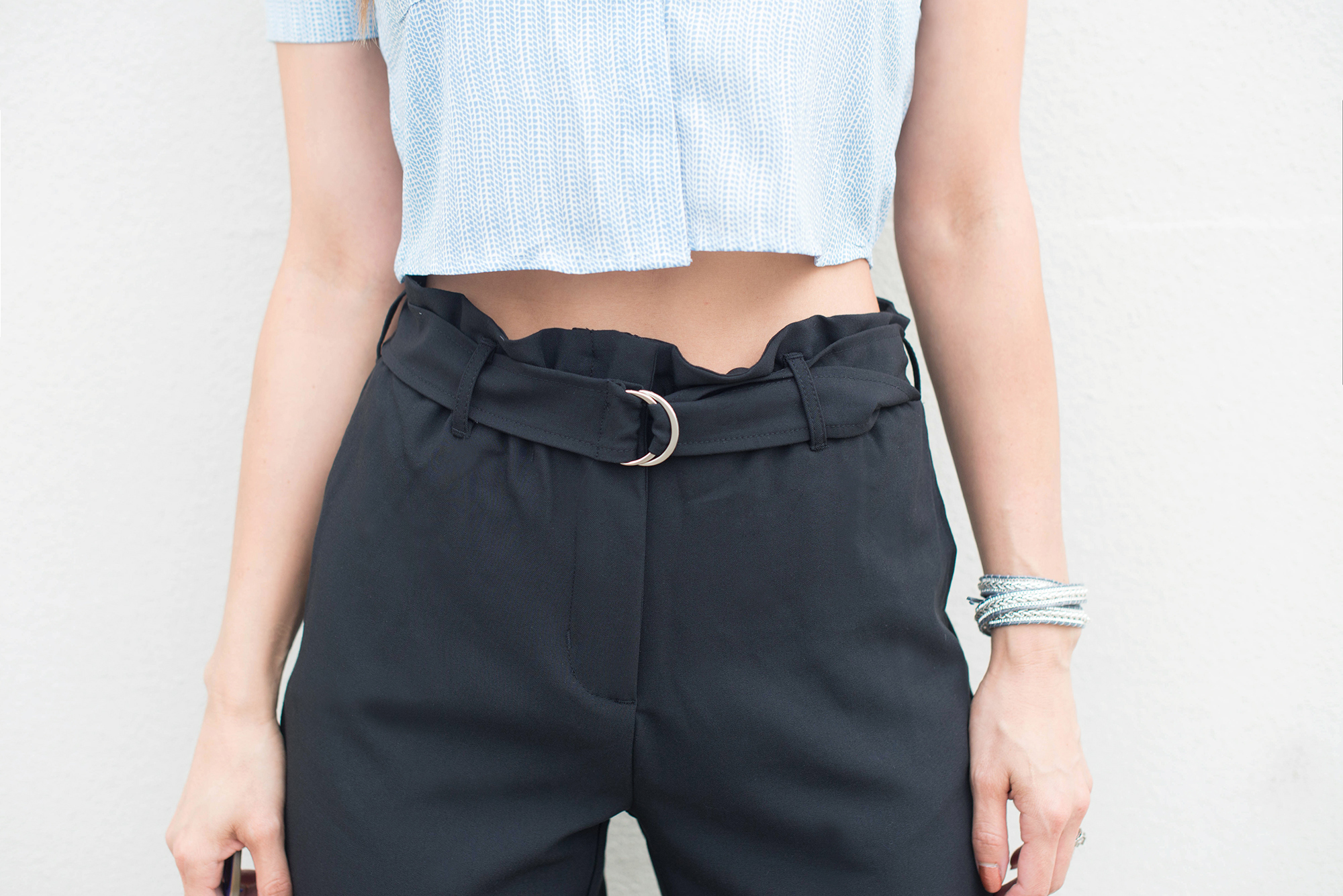 Crop top and high waisted pants