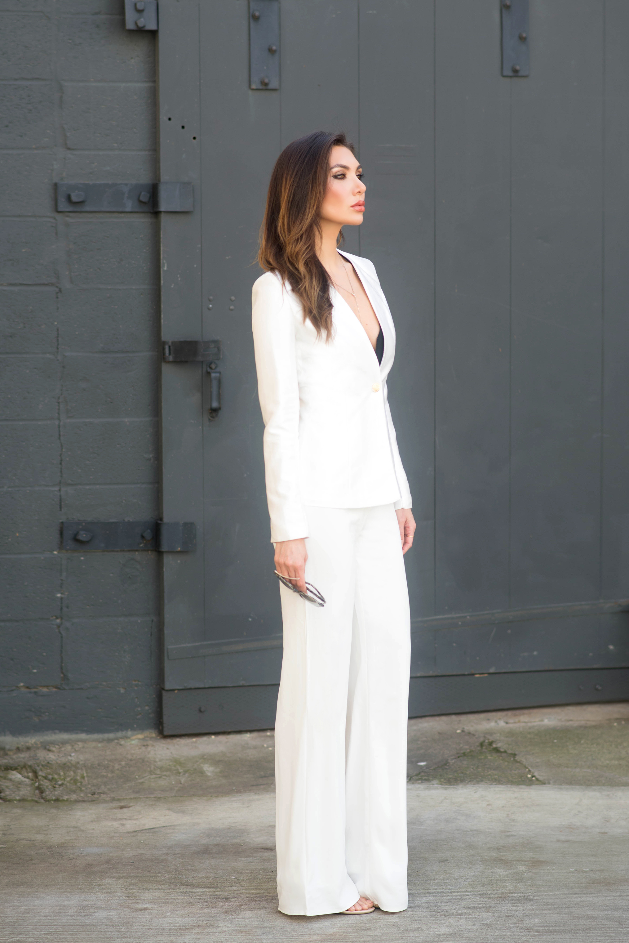 All white pantsuit