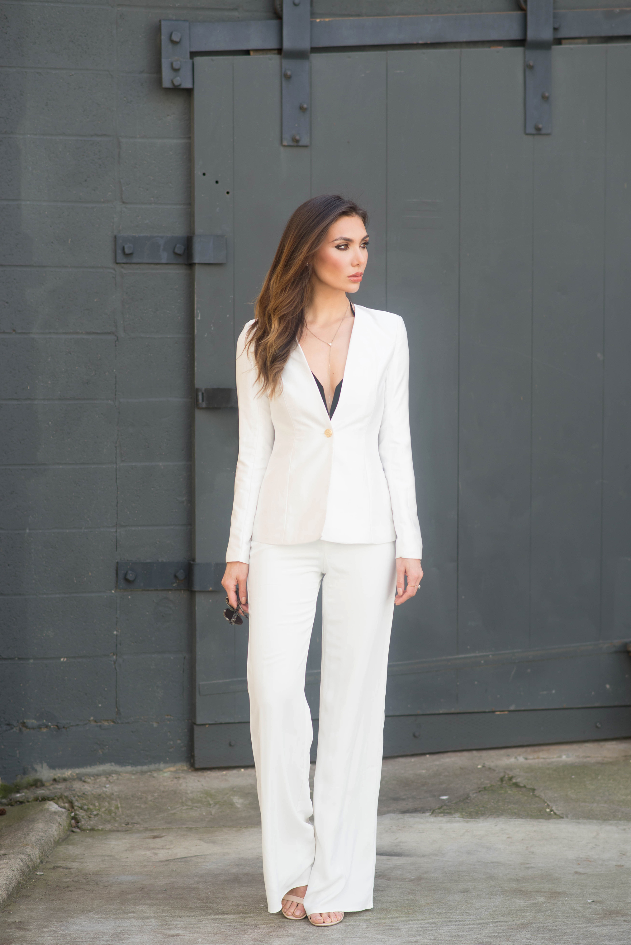 WEARING:    Misha Collection Blazer  ,  Trousers,    Shoes  , Necklace (  similar  ),   Sunglasses  ,   Bar Ring  ,   Floating Diamonds Ring