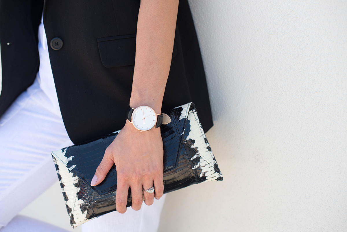 JBeverly watch and Isly Handbags clutch accessories details