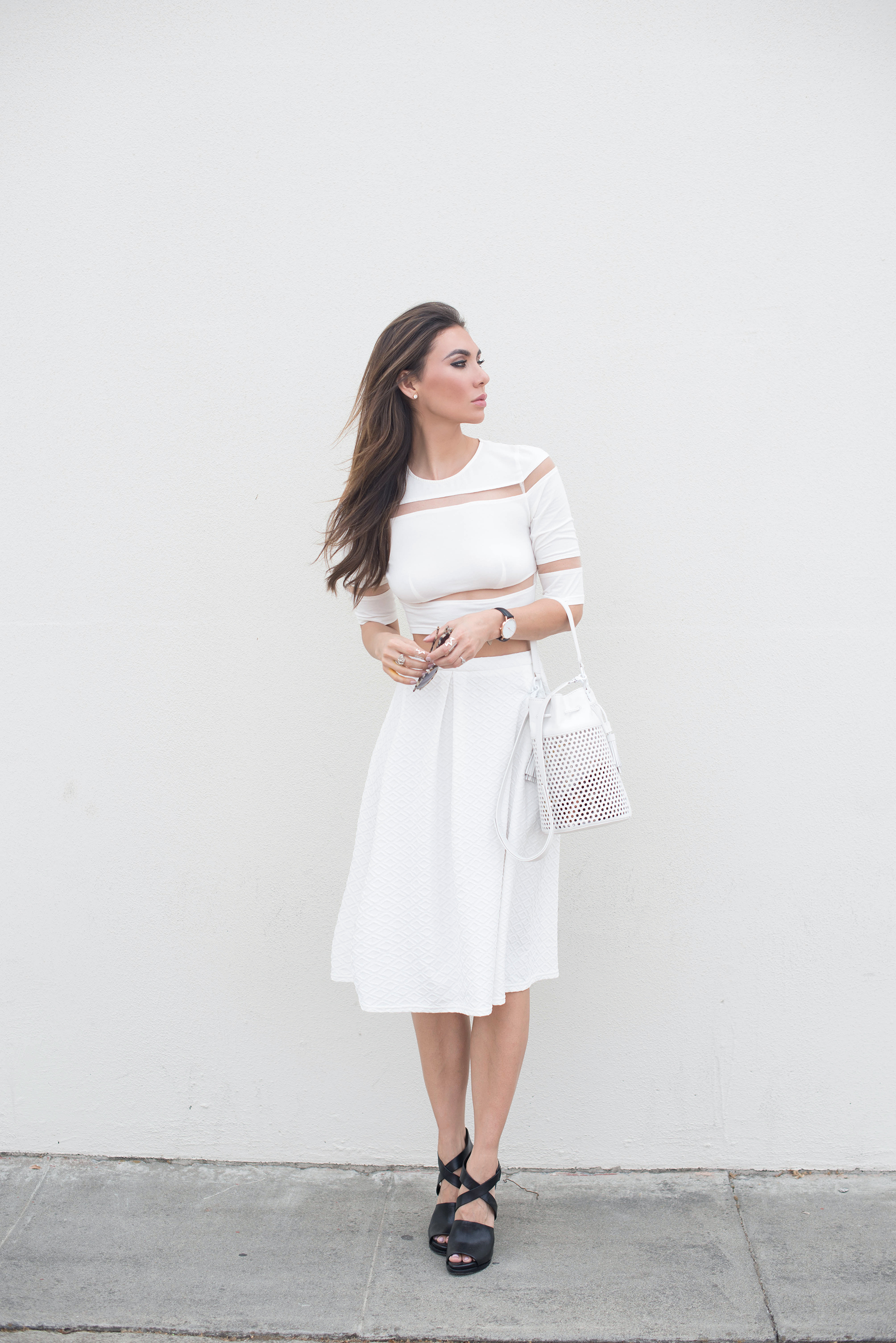 All white minimalist outfit