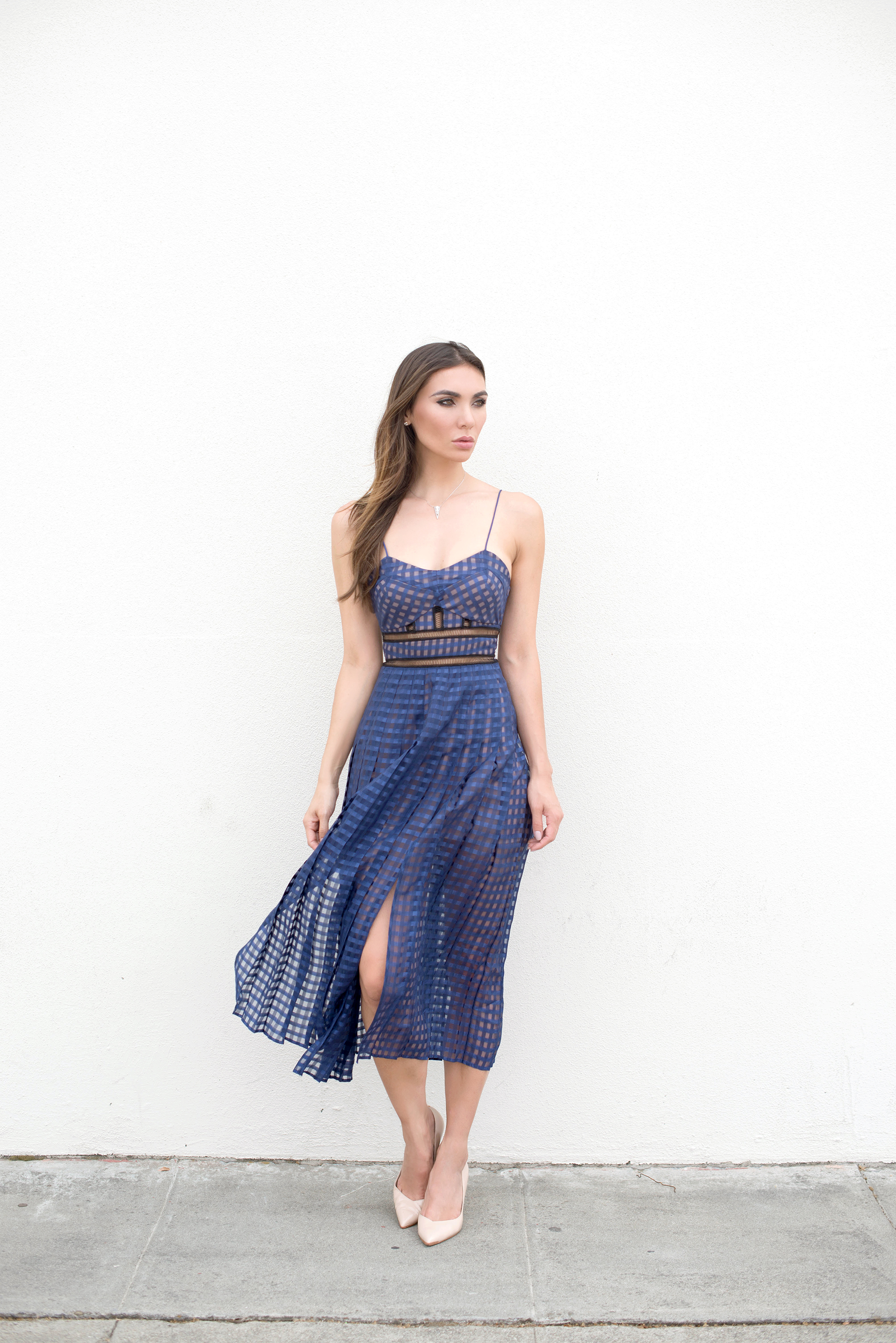 Self-Portrait Box Pleat Checked Dress