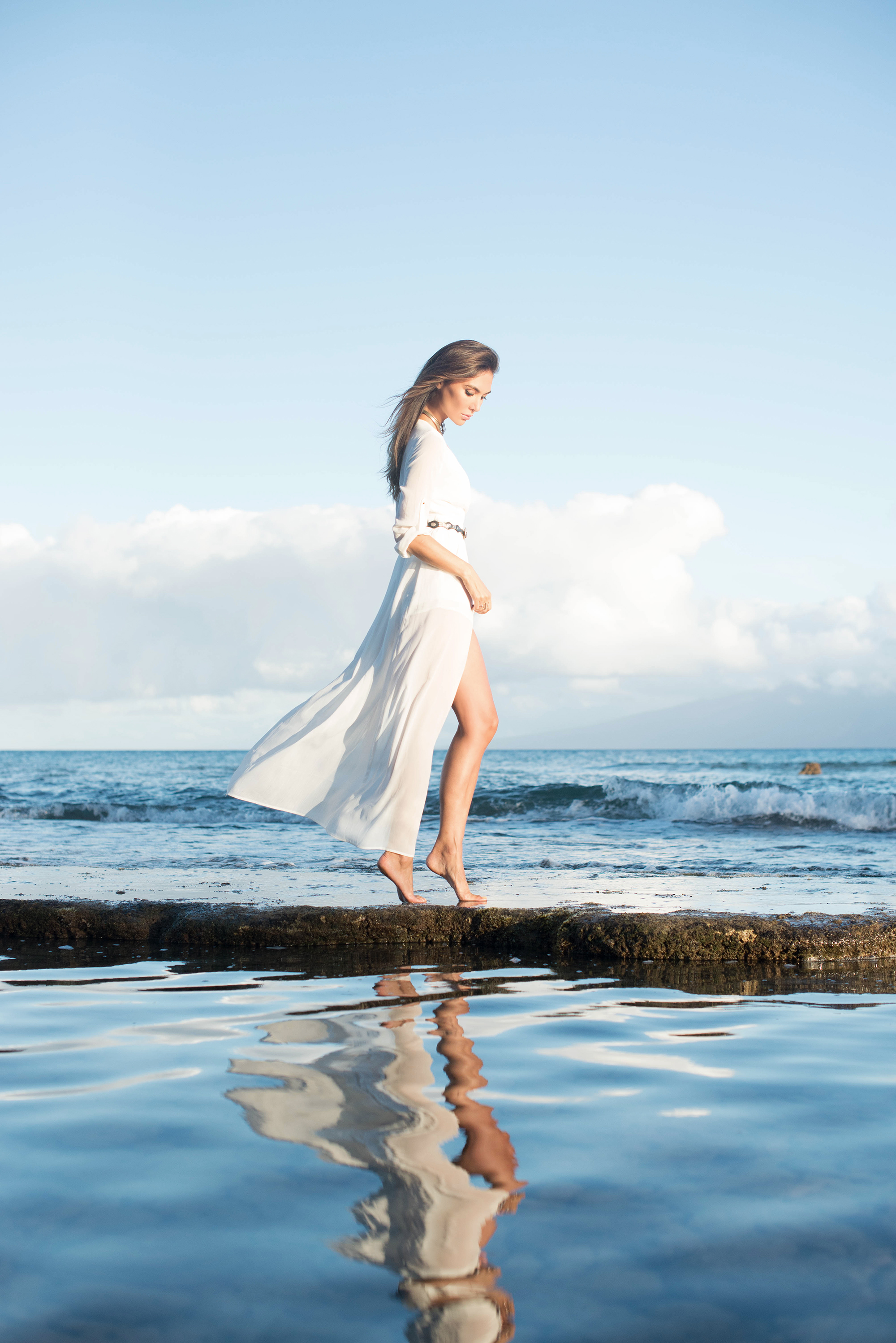 White gown on by the ocean