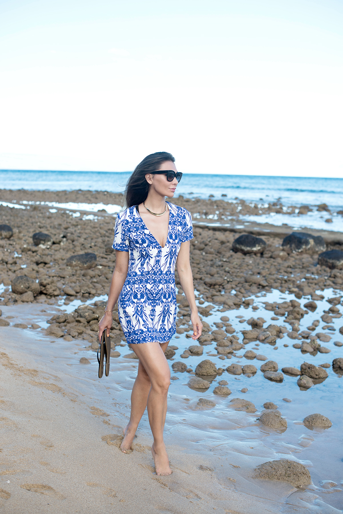 Missguided Oversized Shift Dress on the beach