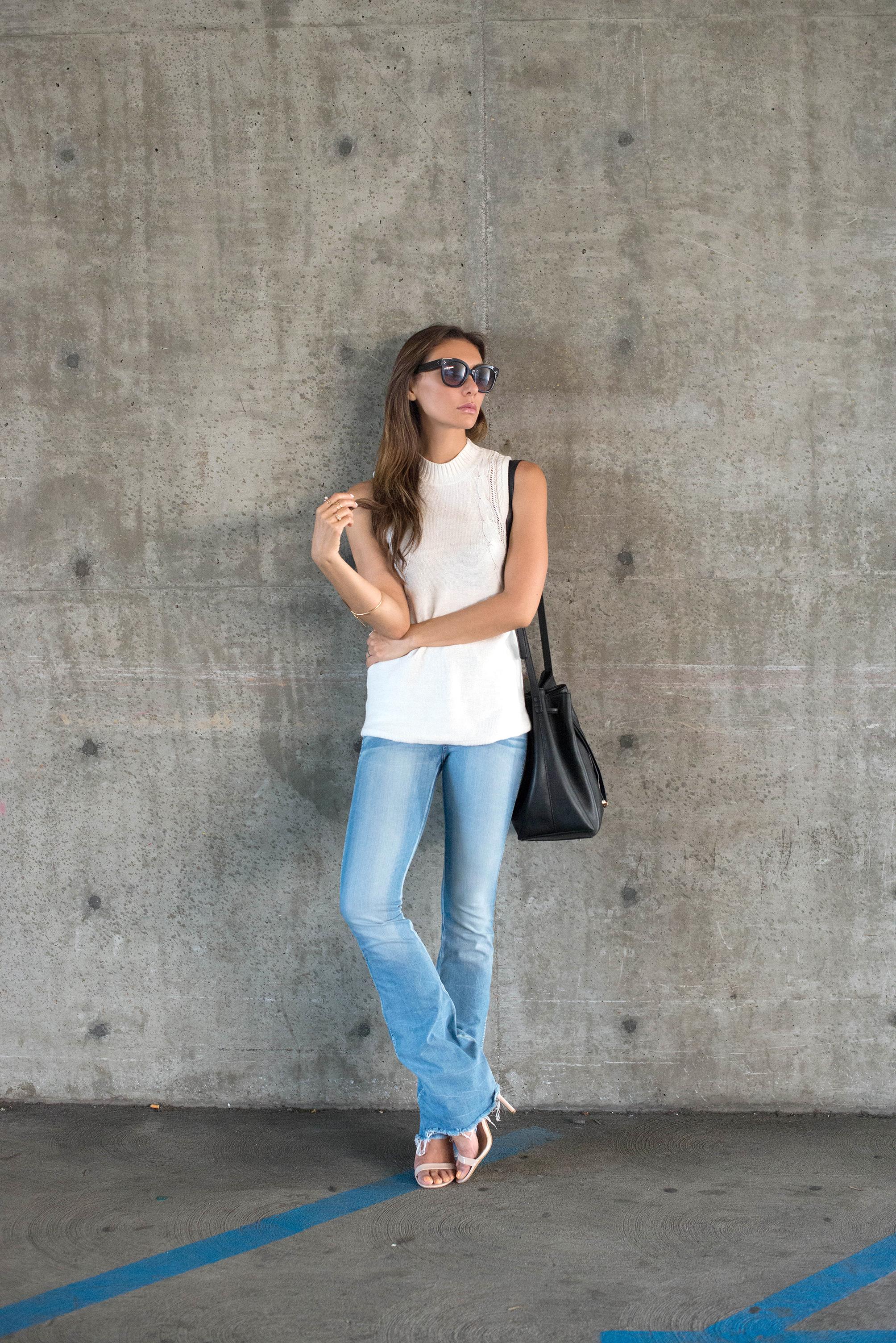 rvca sweater tank ad raw edge flare jeans