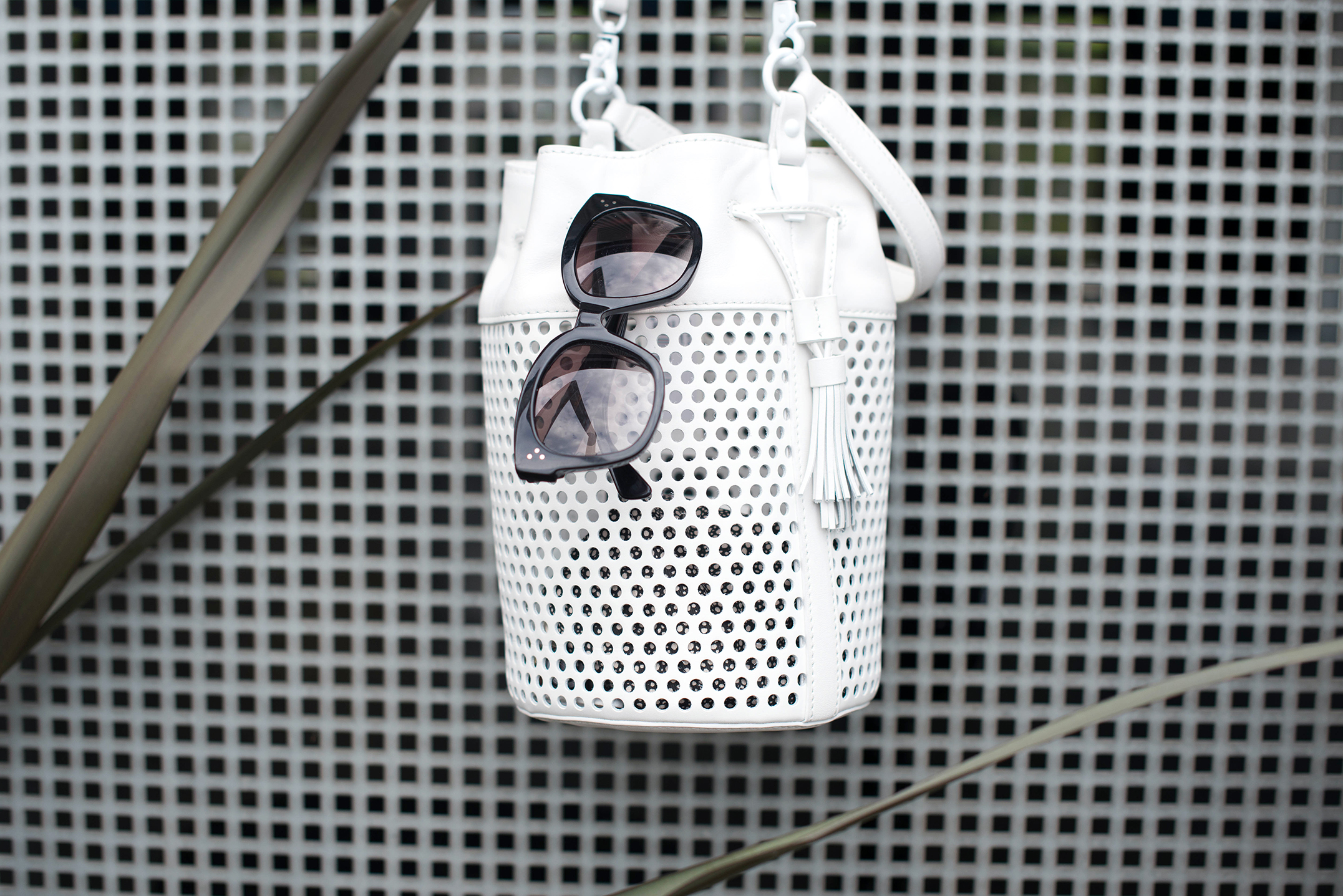 Loeffler Randall white perforated bag