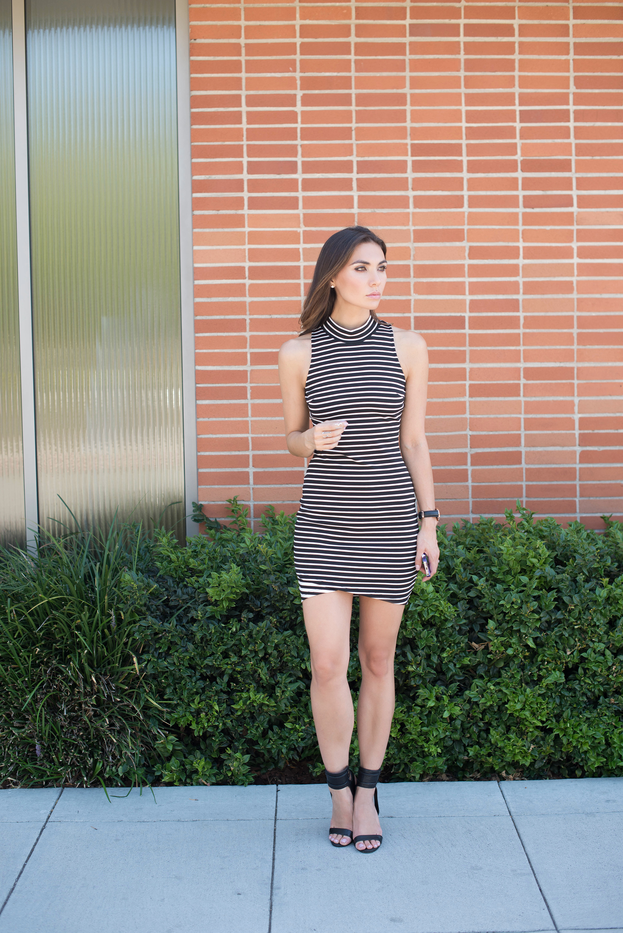 State of Being Striped Mock Neck Body Con Dress