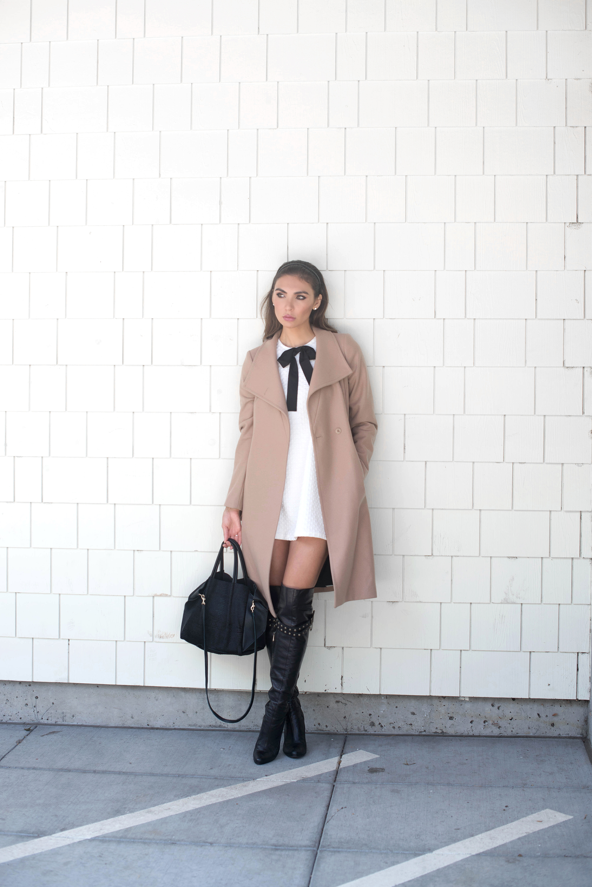 COAT.       DRESS.    BOOTS (Marc Jacobs, similar    HERE    and    HERE   ).    BAG.       RING.       EARRINGS.
