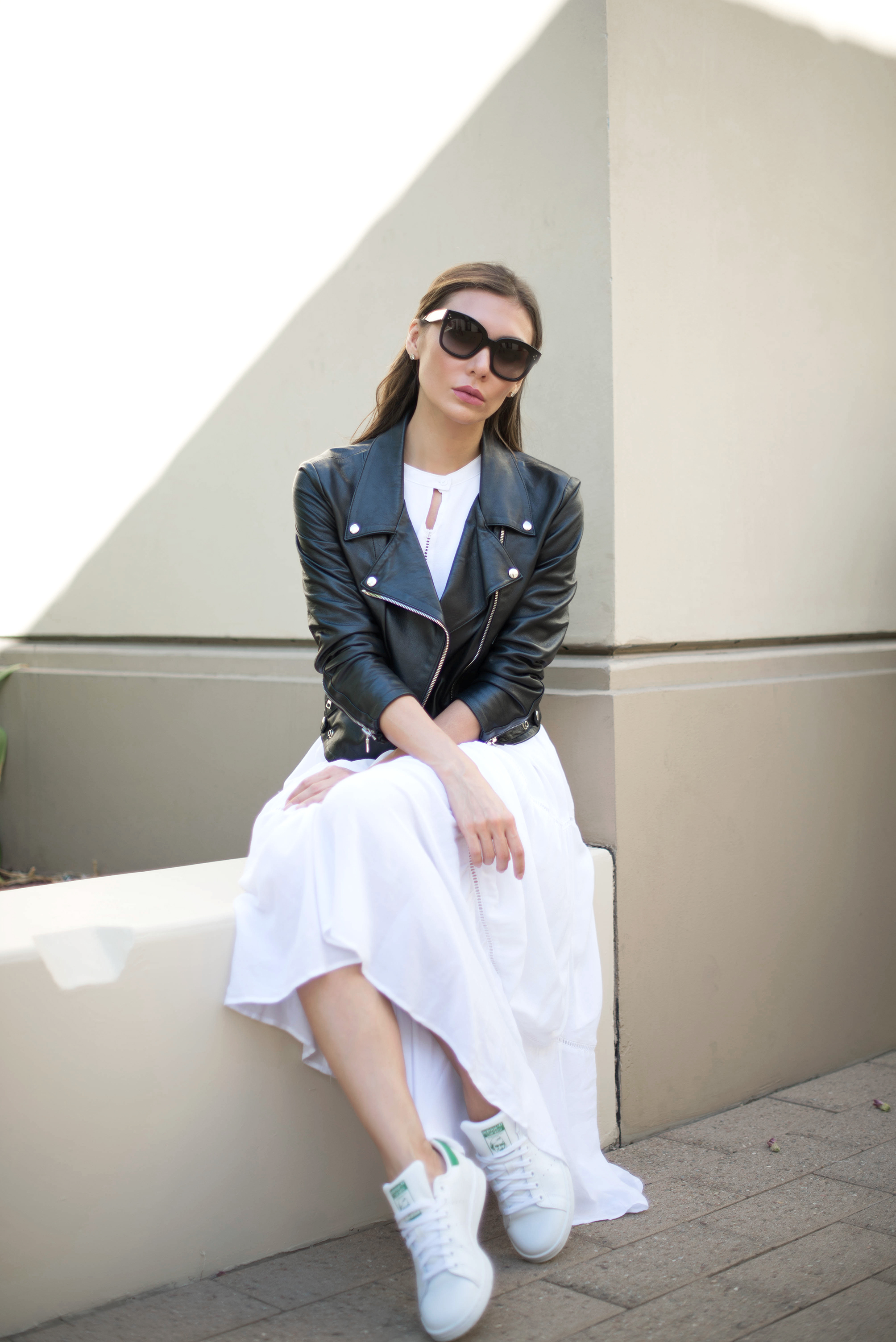 DRESS .  JACKET  ( Reformation ,  similar   HERE   and   HERE ).  SHOES ( also   HERE ).  SUNGLASSES .