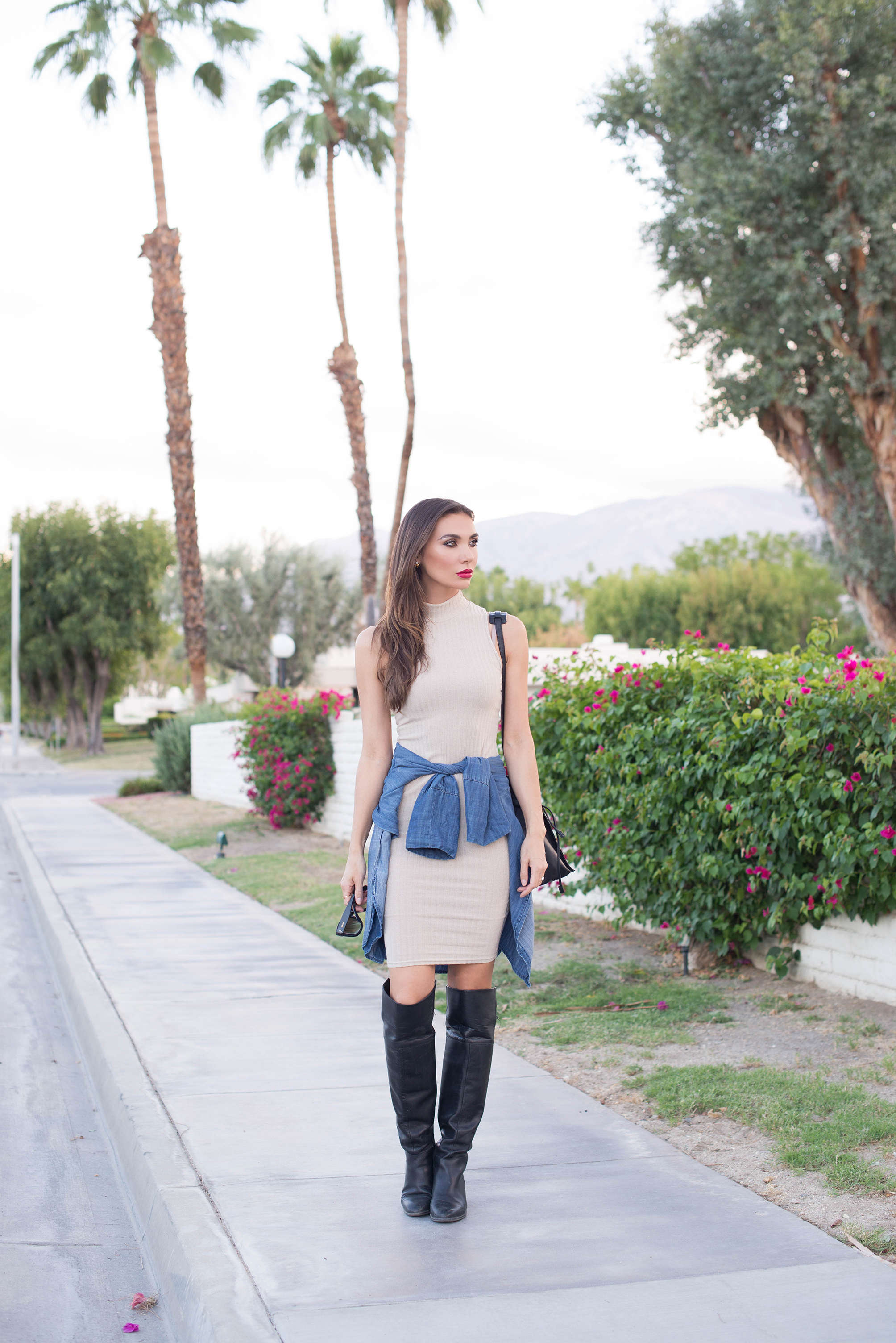DRESS.  SHIRT . BOOTS (similar  HERE  and  HERE ).  BAG .  SUNGLASSES .  RING.