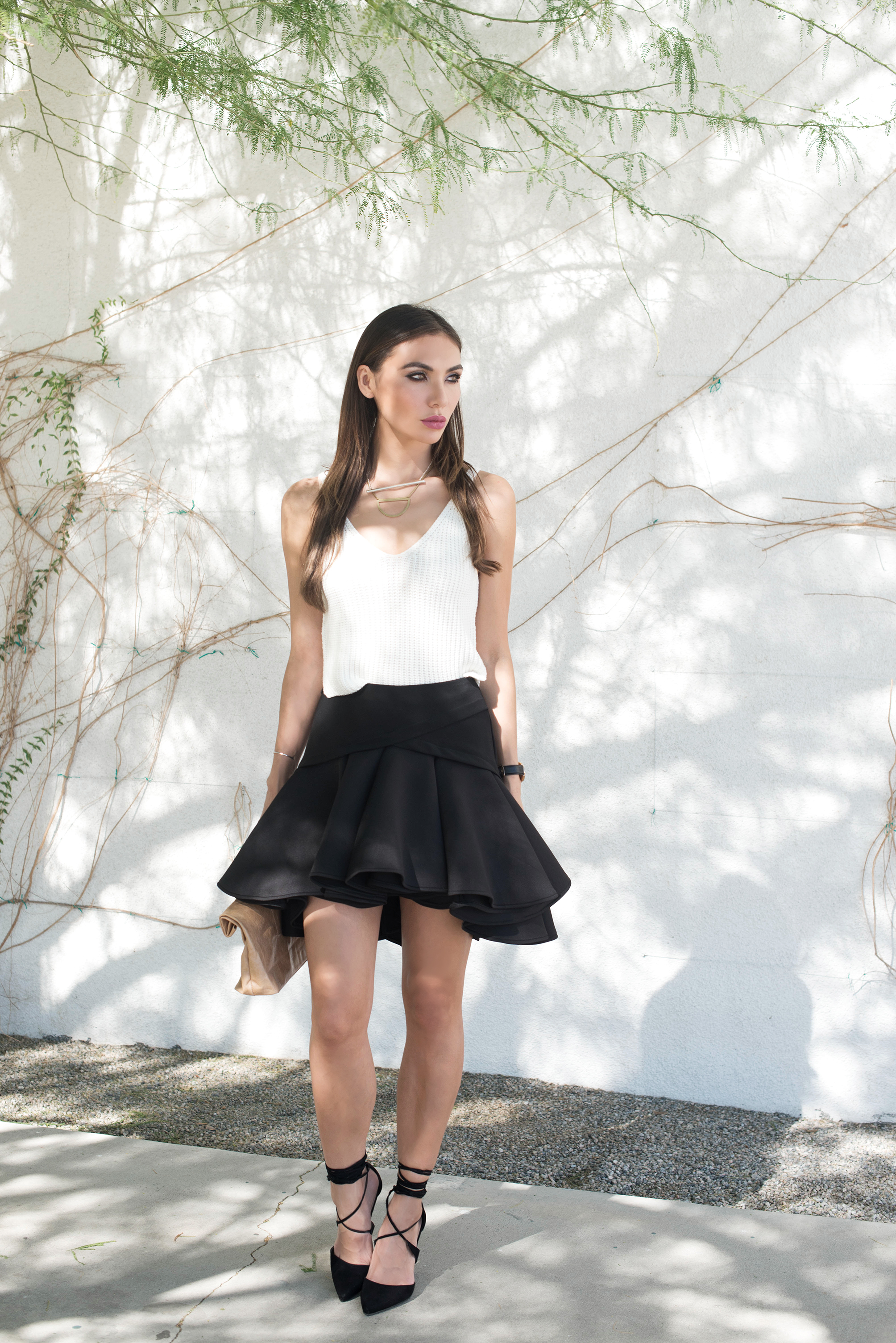 TOP.  SKIRT (similar  HERE ).  SHOES .  BAG .  SUNGLASSES . STARGAZER NECKLACE .  CANYON NECKLACE .