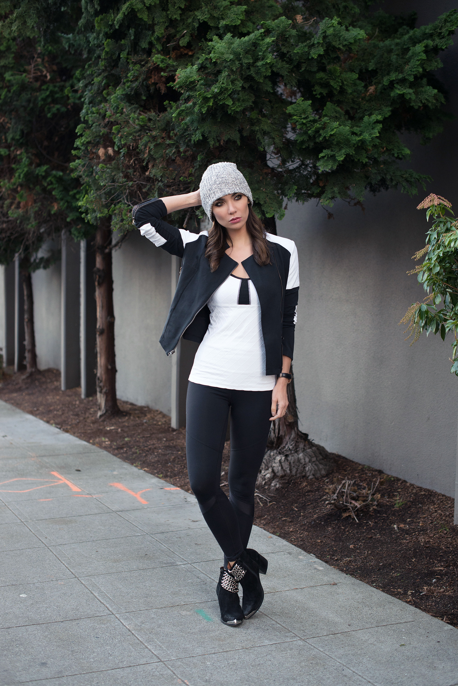 JACKET .  TOP .  LEGGINGS .  HAT  (in olive marl)  . SHOES (Jeffrey Campbell, similar   HERE  ).