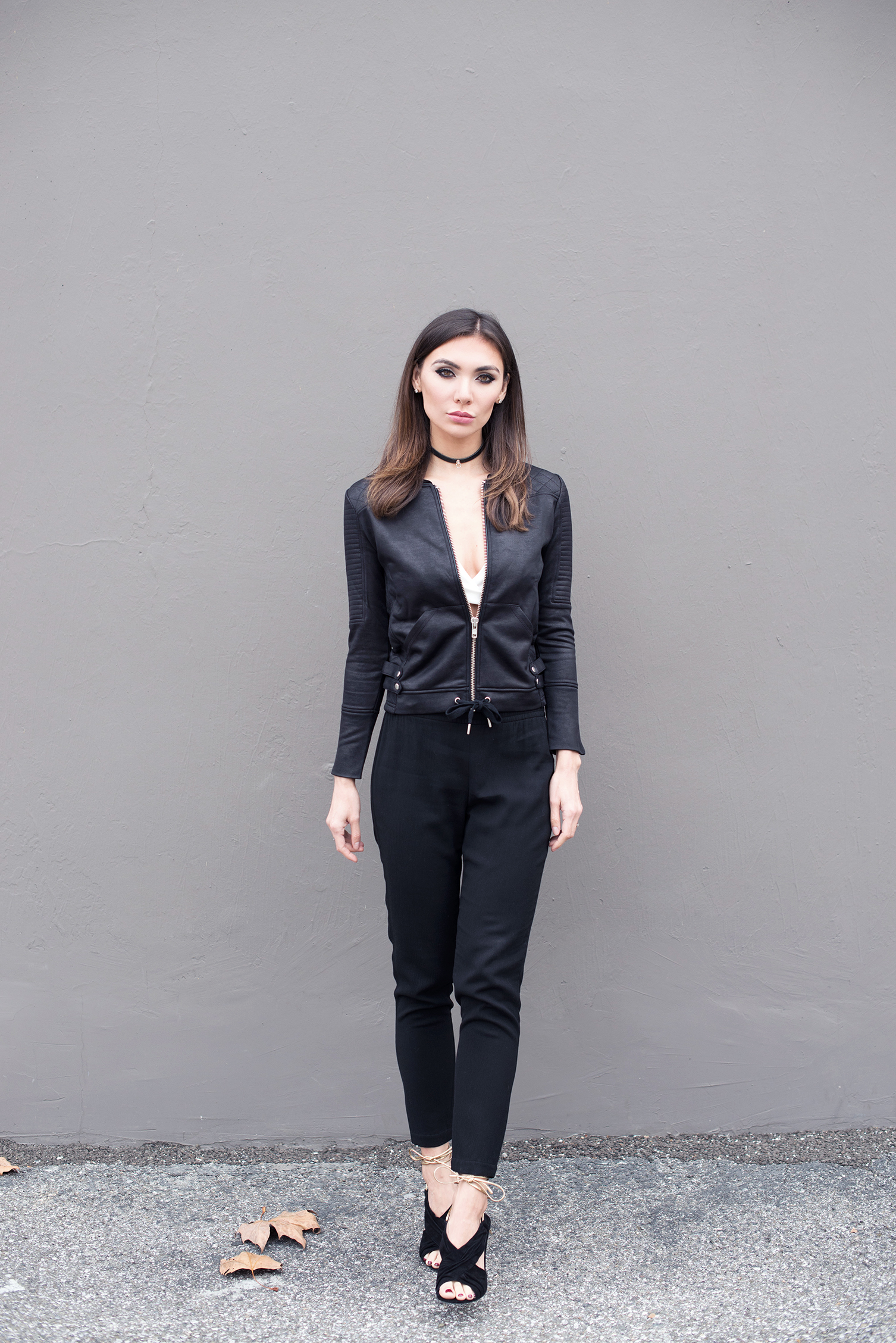 TOP   (in black   HERE  ).   JACKET  .   CHOKER .  PANTS .  SHOES (Diane von Furstenberg, similar   HERE  ,   HERE   and   HERE  ).