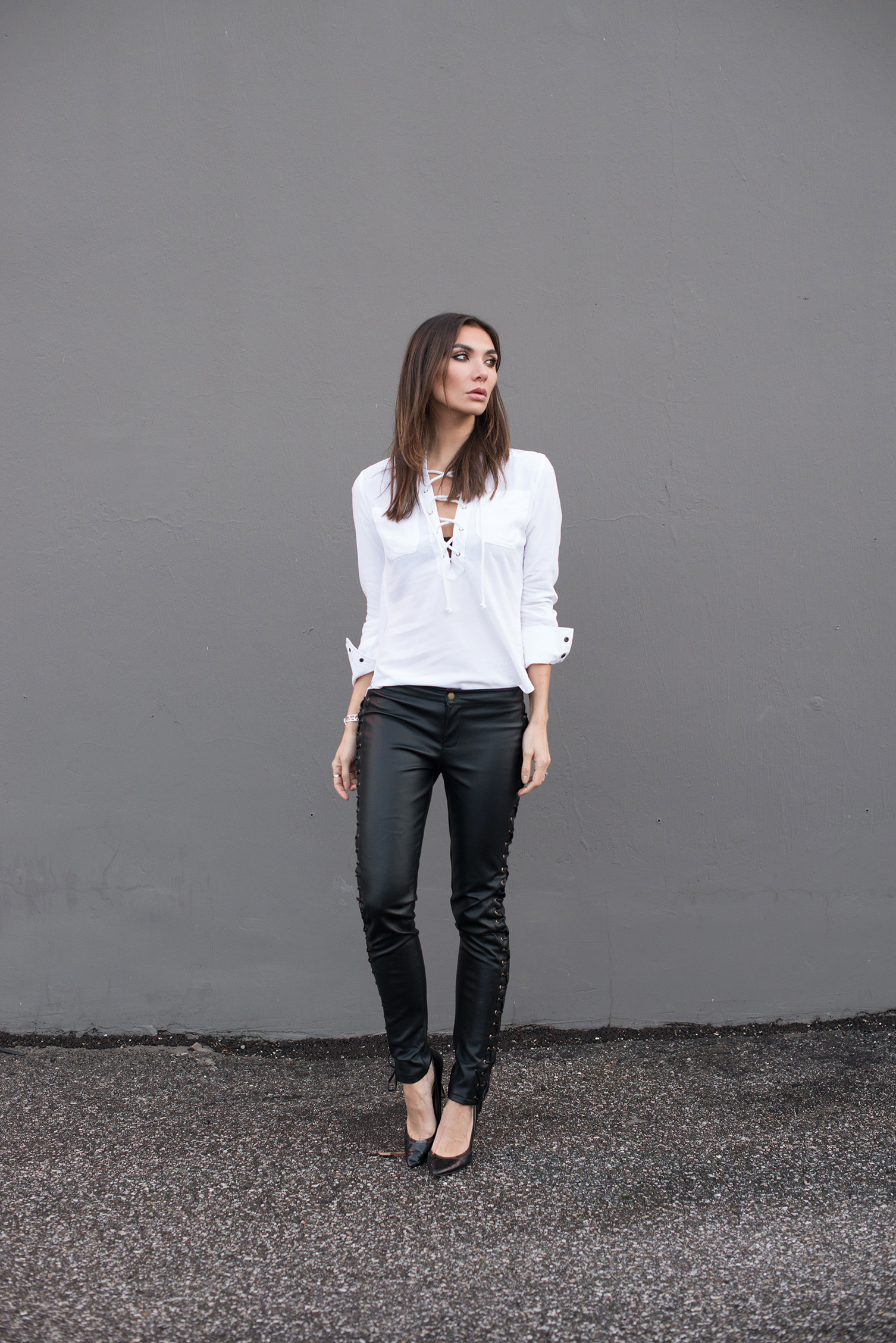 Camixa Shirt  .   Nightwalker Lace-up Pants   (similar   HERE  )