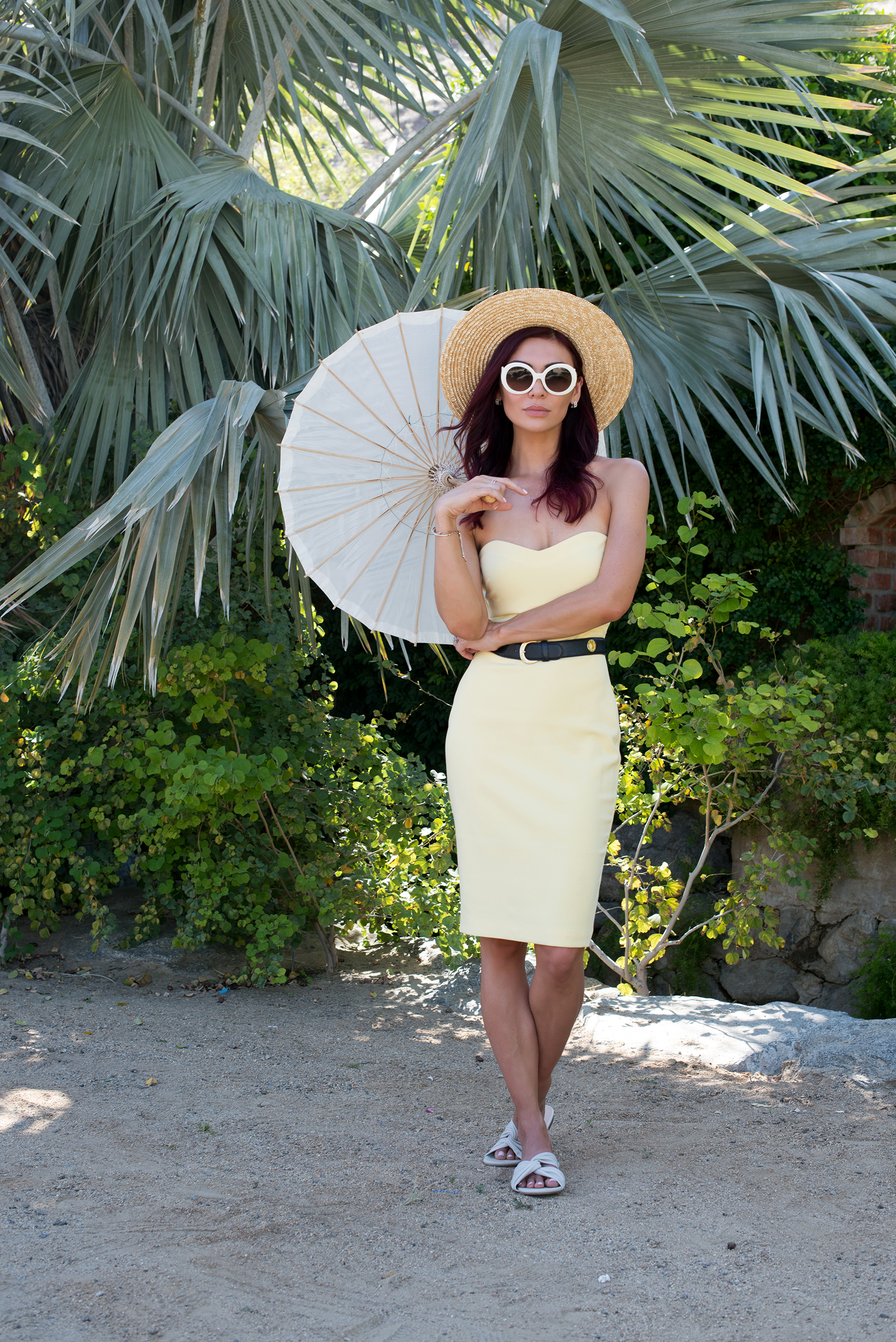 /   DRESS   / BELT (Vintage Paloma Picasso, similar   HERE  ) /   SHOES   /   HAT   / SUNGLASSES (Prada, similar   HERE   and   HERE  ) / BAG /   EARRINGS   /