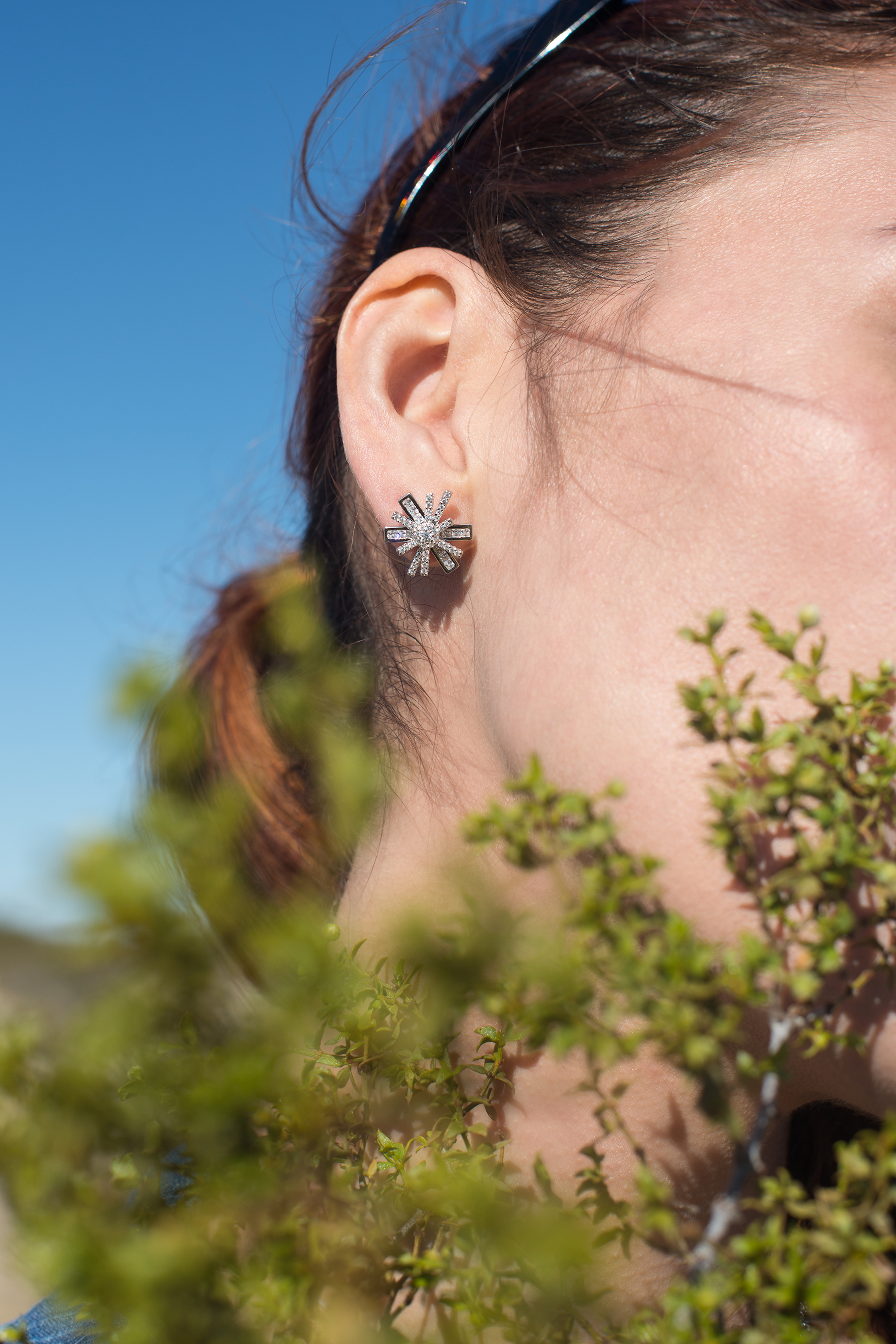 /  Star Flower Rhodium Stud Earrings  /