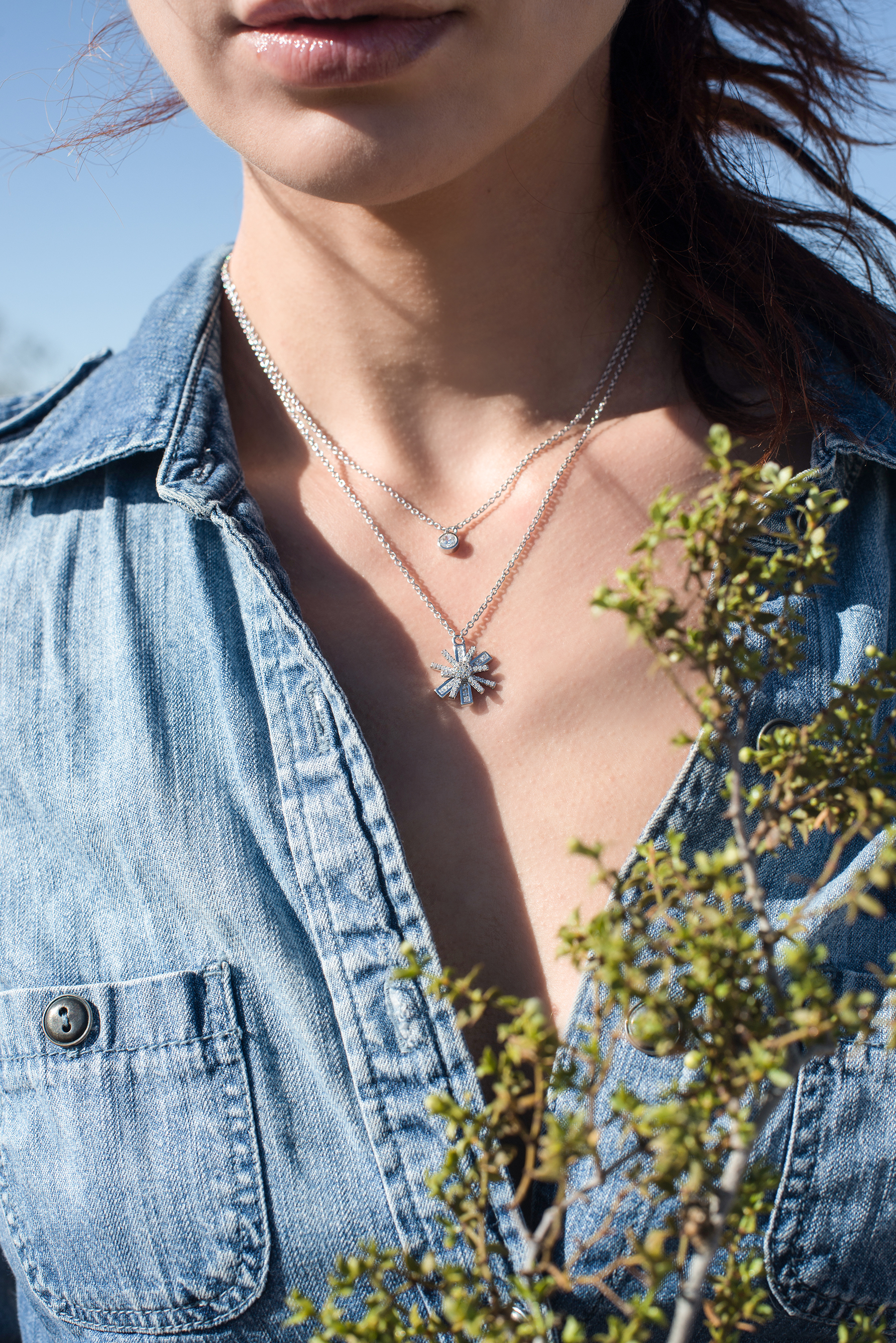 /  Star Flower Rhodium Necklace  /