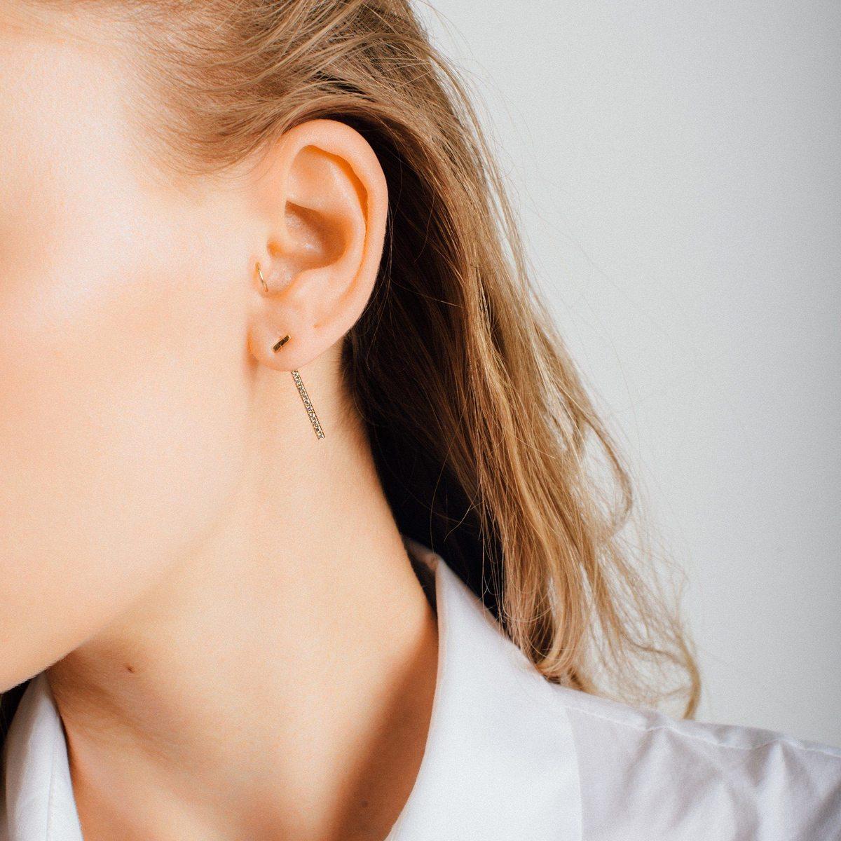 Midi Bar Ear Jacket with Diamonds