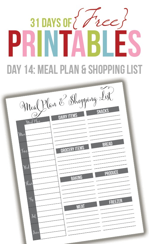 free black & white meal planner printable from supersweetlife.com