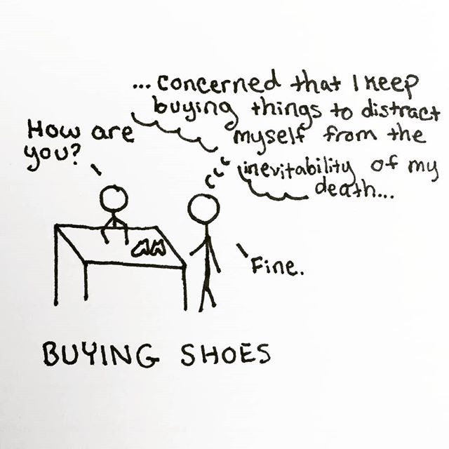 Everything is fine. 👠 👞 👟 #cartoon #cartoons #funny #relatable #lol #sketch #pen #penart #penandpaper #sketchbook #doodleart #blackandwhite #doodlesofinstagram #creative #funny #comedy #quoteoftheday #quote #masterpiece #thoughts #creativework #pensivepencil#shopping