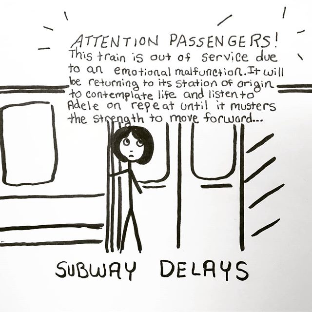 It's not like we have anywhere to be. 🚇 . . #cartoon #cartoons #funny #relatable #lol #sketch #pen #penart #penandpaper #sketchbook #doodleart #blackandwhite #doodlesofinstagram #creative #funny #comedy #quoteoftheday #quote #masterpiece #thoughts #creativework #pensivepencil#nyc #subway