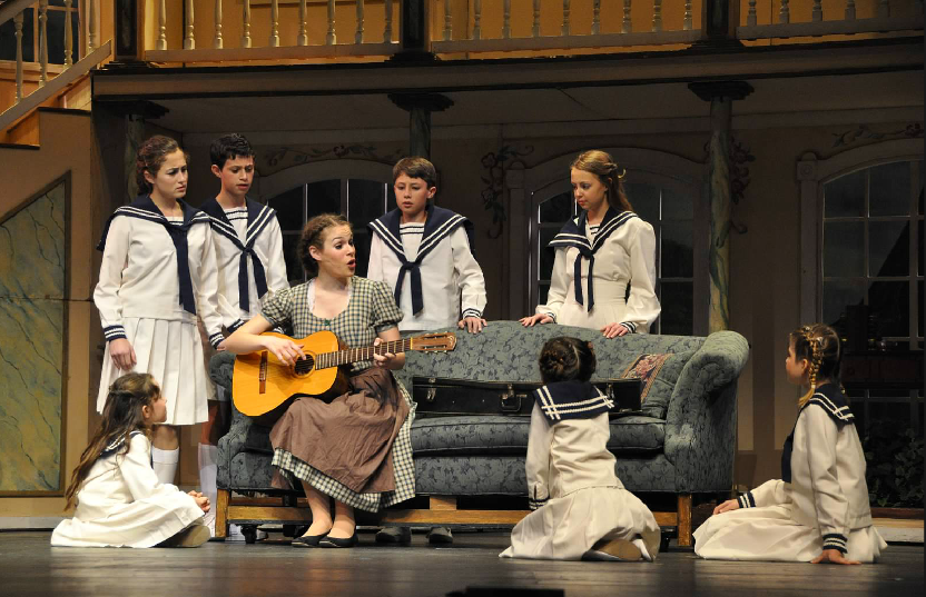 The Sound of Music with Eleanor Roeder, Max DeSantis, Trevor Gomez, Christina Schoell, Ella Durndale, Emily Joy Kessell, and Jax Franks. Photo by Linda Carter