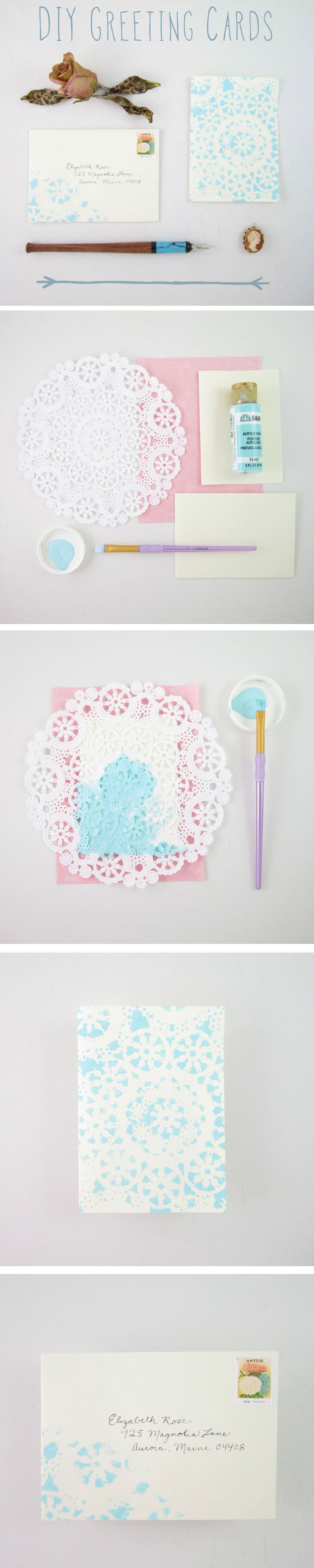 Simple DIY Lace Greeting Cards - www.lydiamakepeace.com
