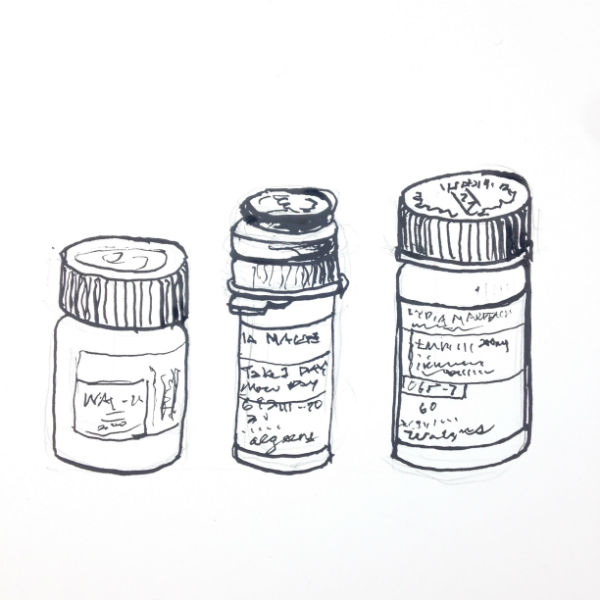 A Few of My Friends ( 2014)by Lydia Makepeace, ink on paper