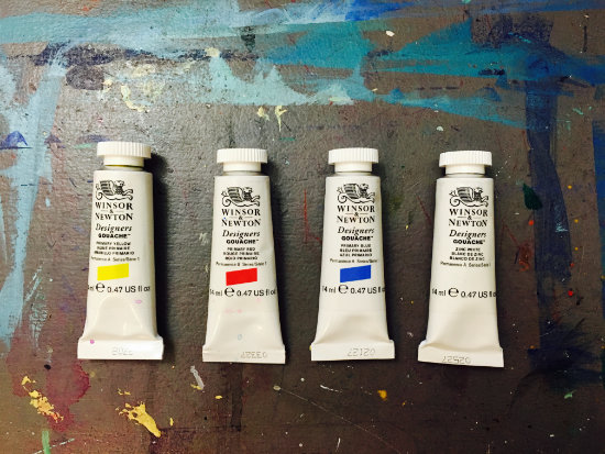 Winsor and Newton Designers Gouache - Primary Yellow, Primary Red, Primary Blue, Zinc White