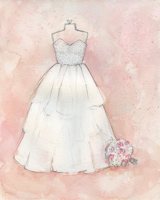 Custom Watercolor Wedding Dress Portrait by Lydia Makepeace