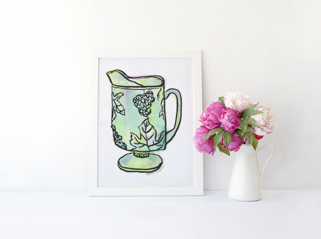 Grandma's Pitcher | watercolor and India ink on paper by Lydia Makepeace