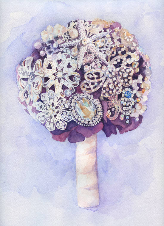 Purple Brooch Bouquet | Custom Watercolor Painting by Lydia Makepeace