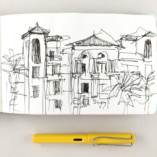 Sketch created with Lamy Safari fountain pen