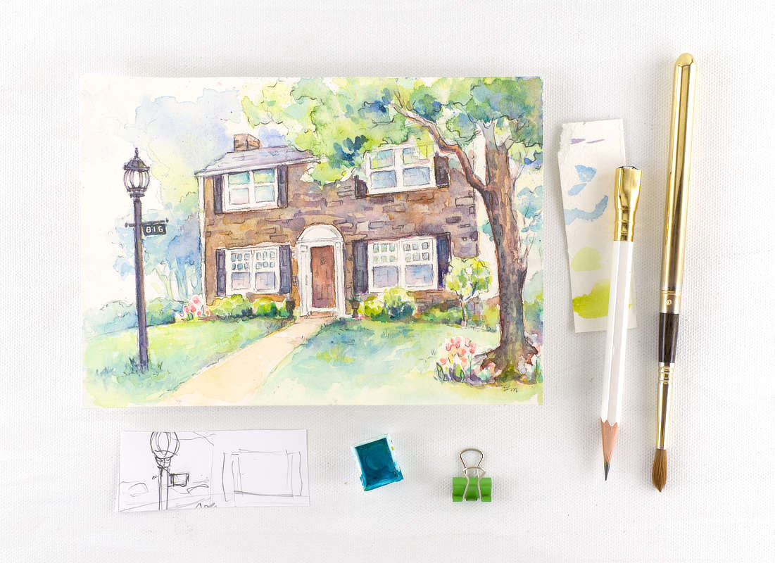 Custom Watercolor House Portrait | Lydia Makepeace