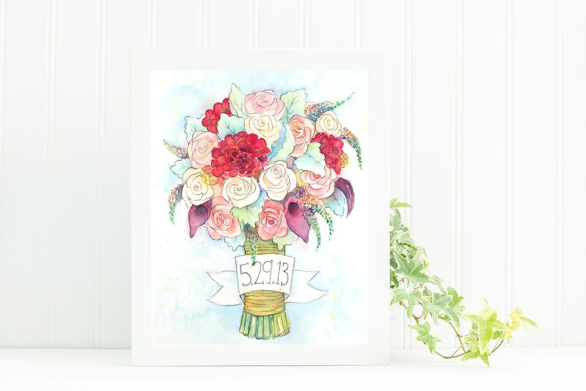 Custom Watercolor Wedding Bouquet Portrait | Lydia Makepeace