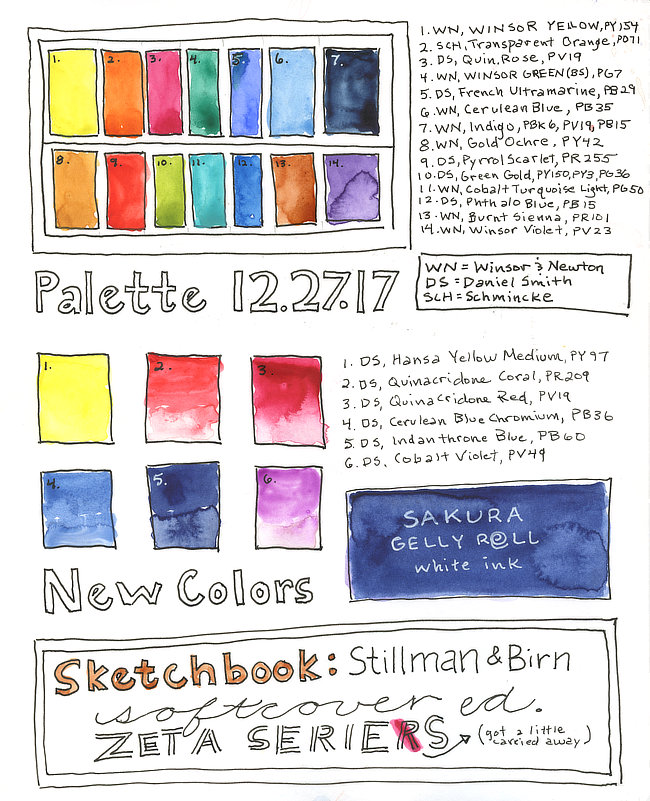 14 color watercolor palette illustration with paint swatches, color names, and pigment codes.