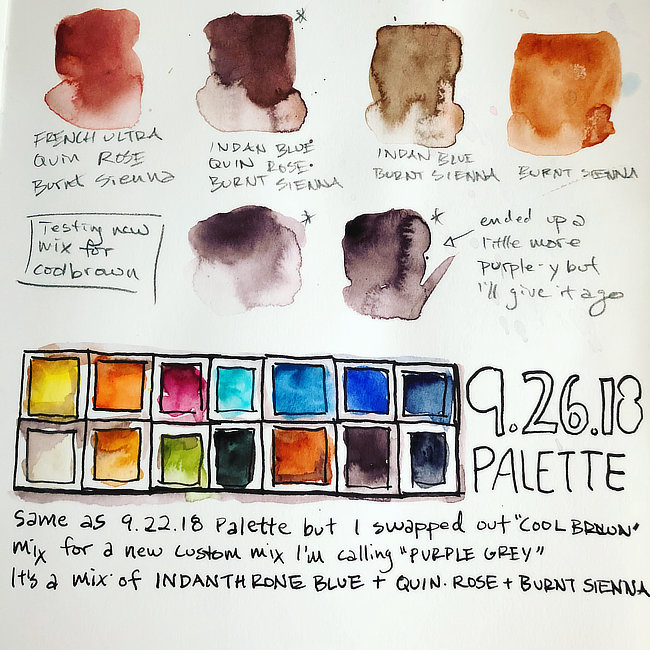 Illustration of 14 color watercolor travel palette with color swatches.