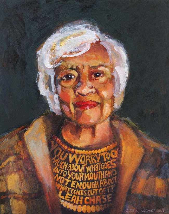 "Portrait of Leah Chase with quote. ""You worry too much about what goes into your mouth and not enough about what comes out of it."" (2019, Acrylic on panel, 16"" x 20"", by Lydia Makepeace)"
